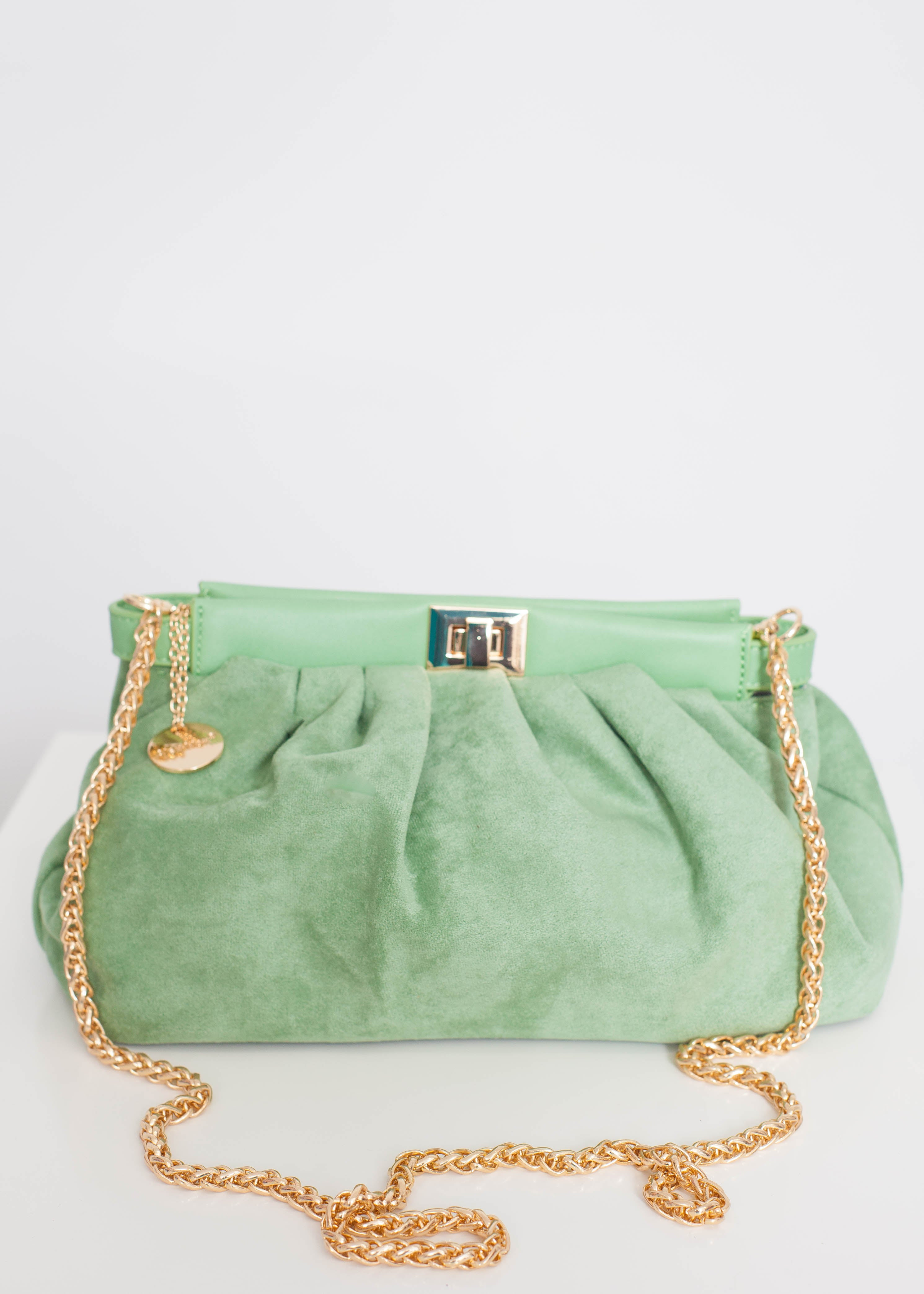 Alex Faux Suede Pouch Bag In Green