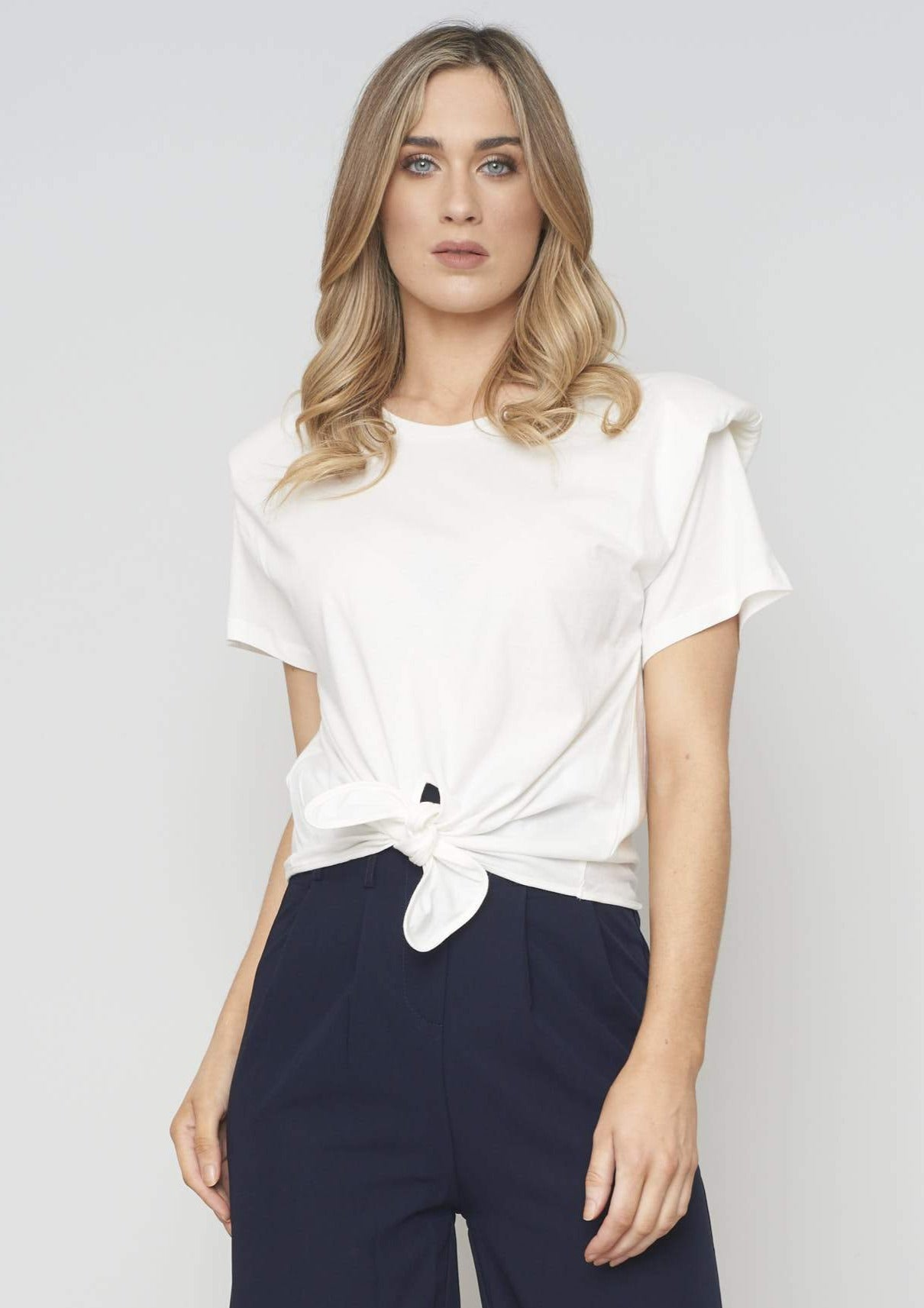 Sophia Tie Front T-Shirt In Ivory