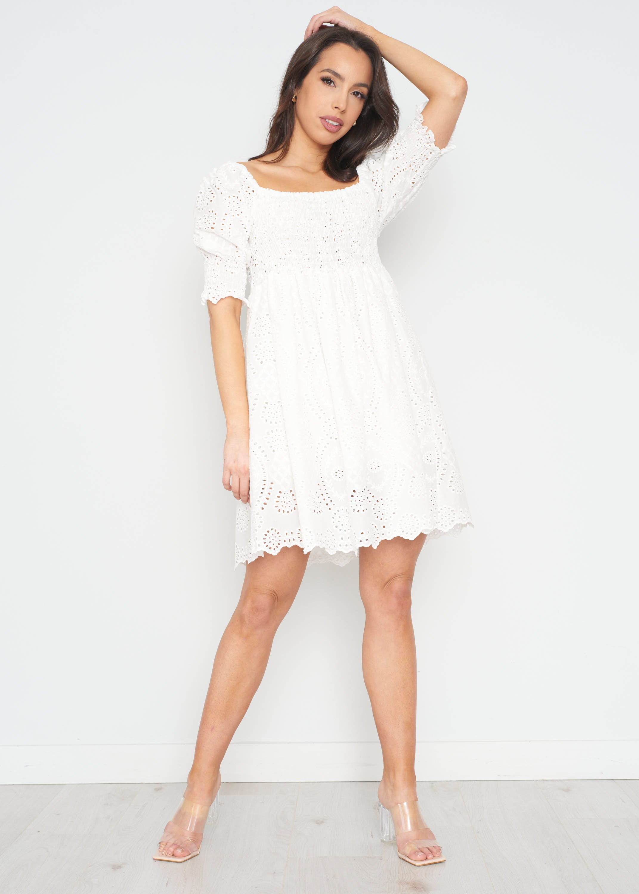 Indie Lace Mini Dress In White