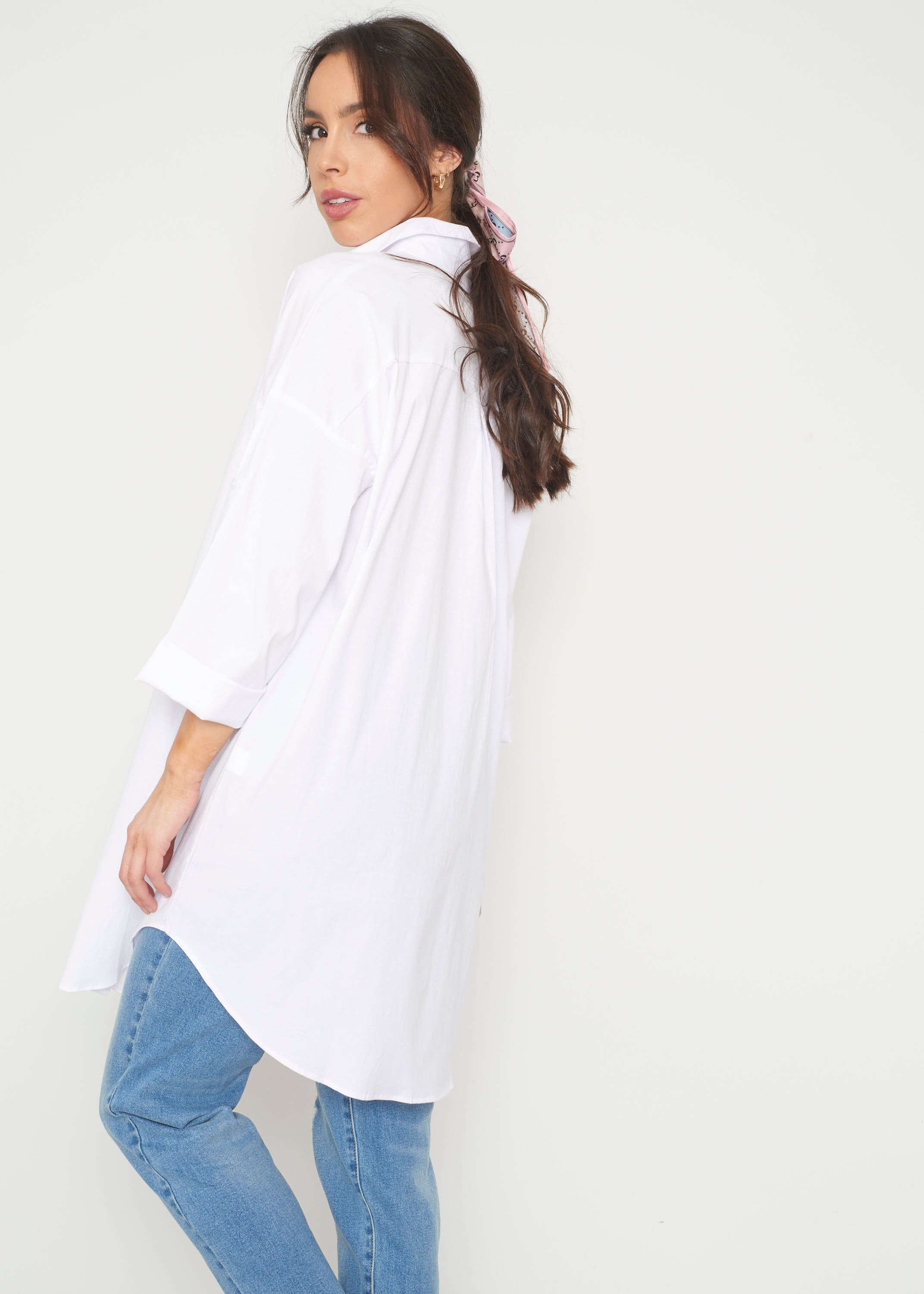 Jade Longline Shirt In White