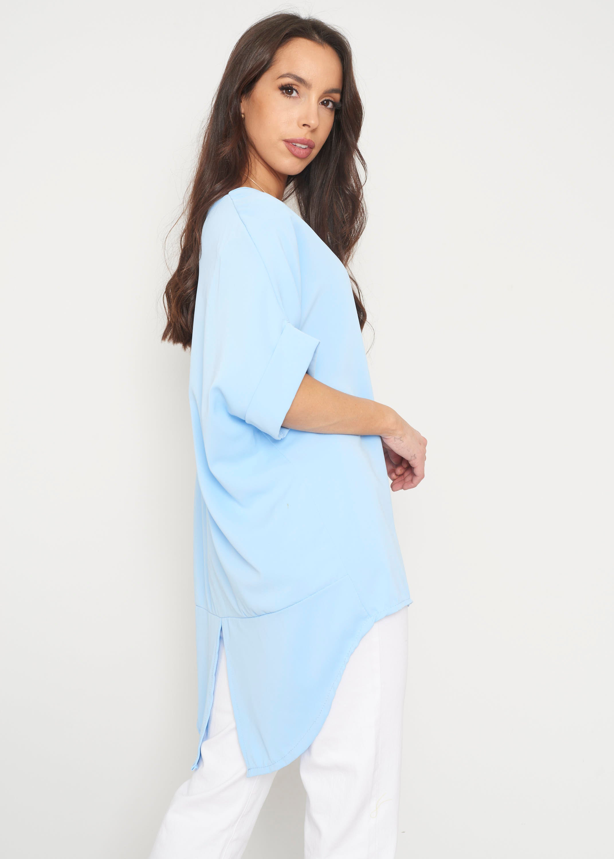 Indie Oversized Tunic In Blue
