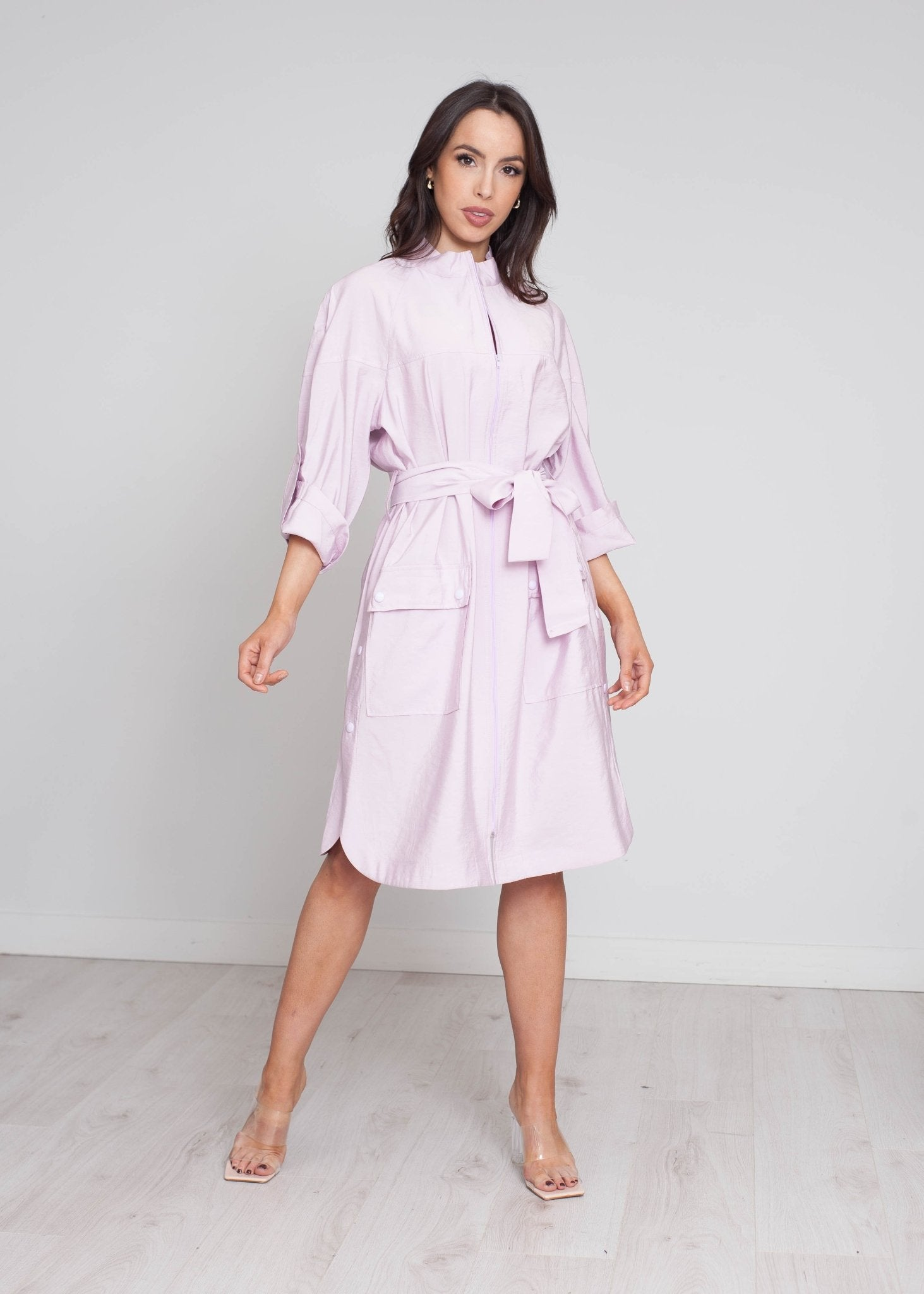 Alana Belted Jacket In Lilac - The Walk in Wardrobe