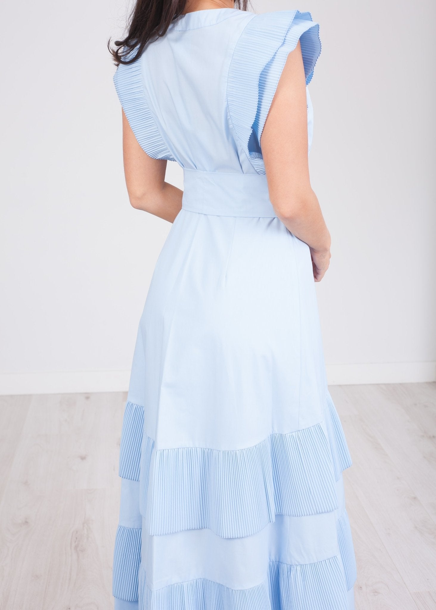 Alana Blue Tiered Dress - The Walk in Wardrobe