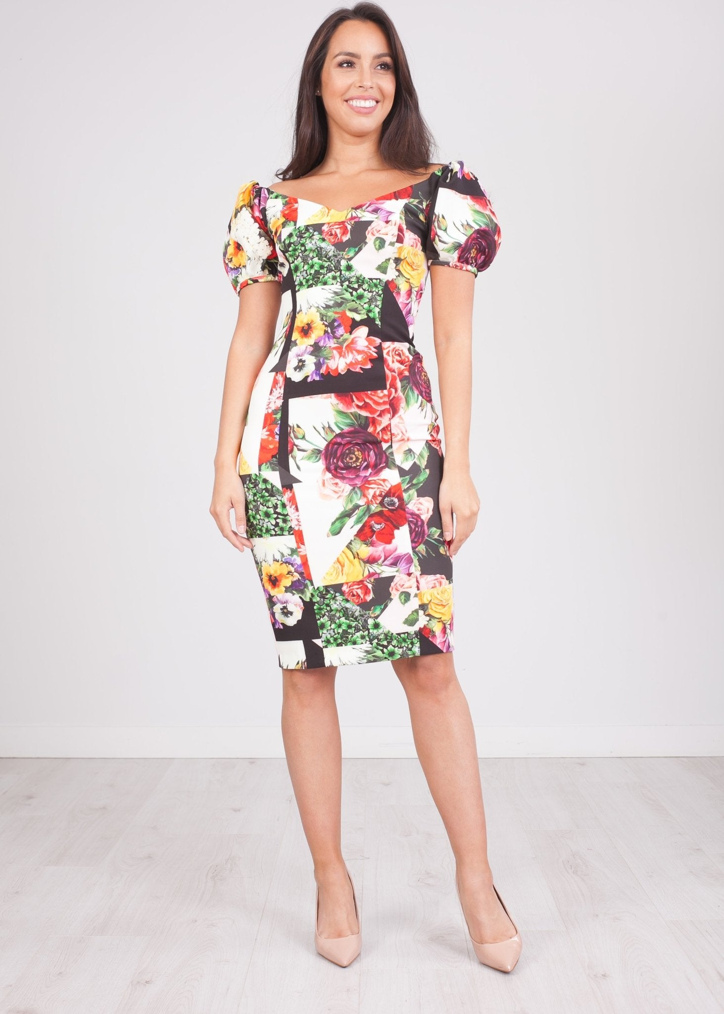 Alana Floral Bardot Dress - The Walk in Wardrobe