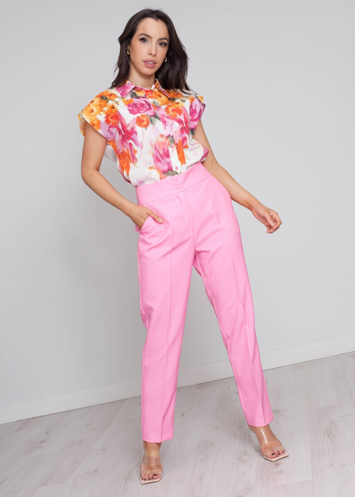 Alana Floral Print Shirt In Pink Mix - The Walk in Wardrobe