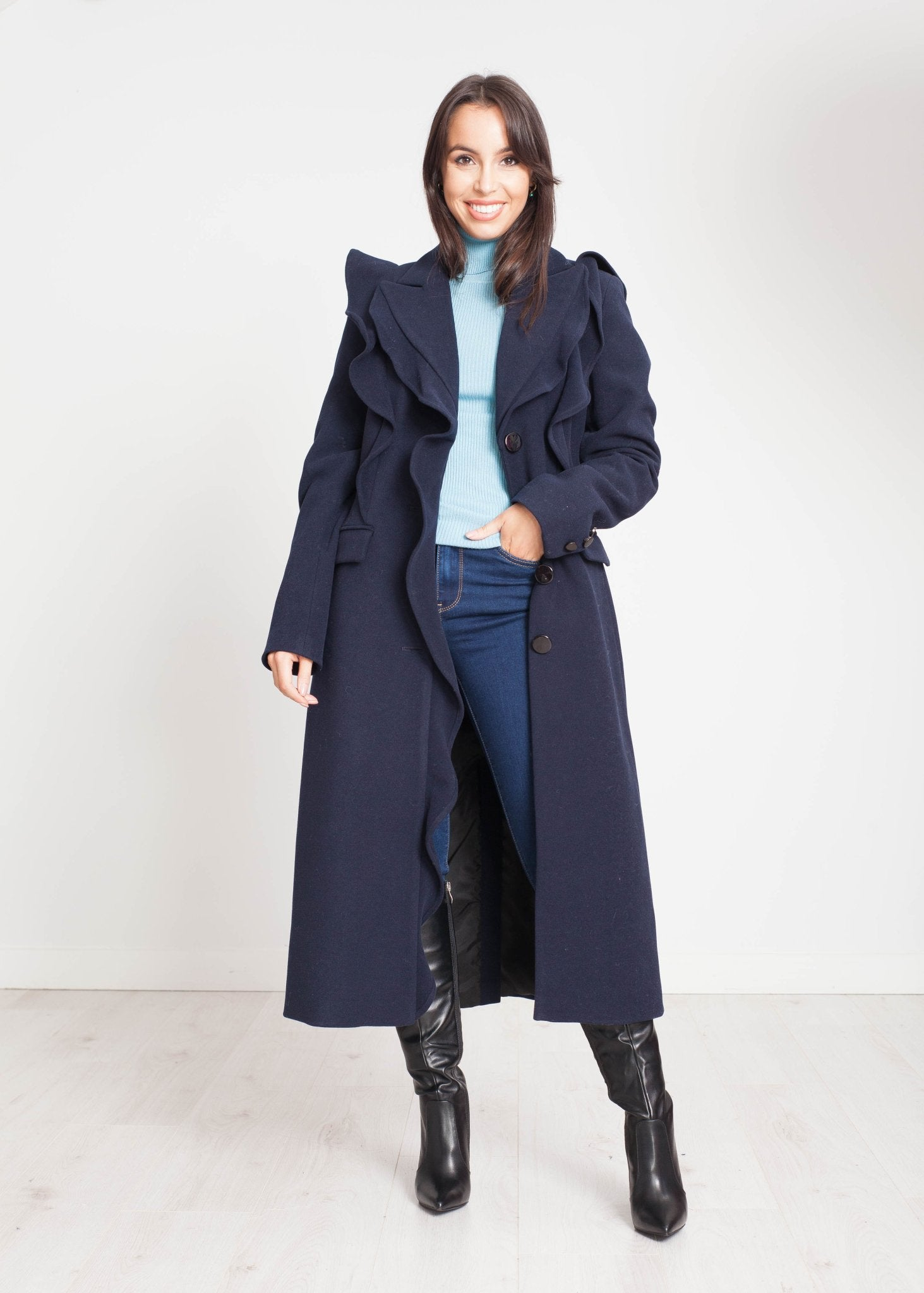 Alana Frill Detail Coat In Navy - The Walk in Wardrobe