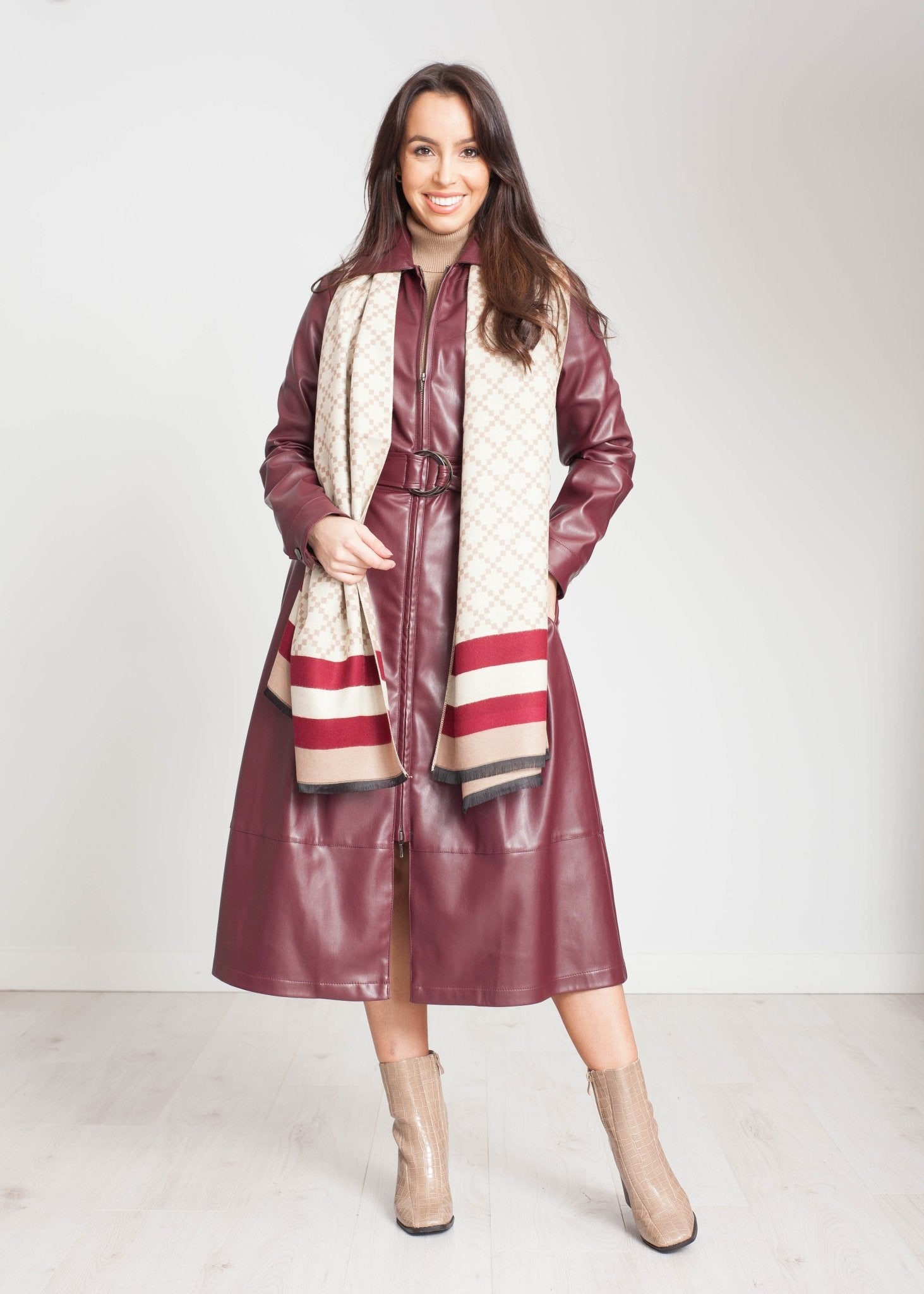 Alana Leather Dress In Burgundy - The Walk in Wardrobe