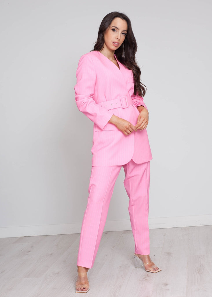 Alana Pinstripe Two Piece In Pink - The Walk in Wardrobe