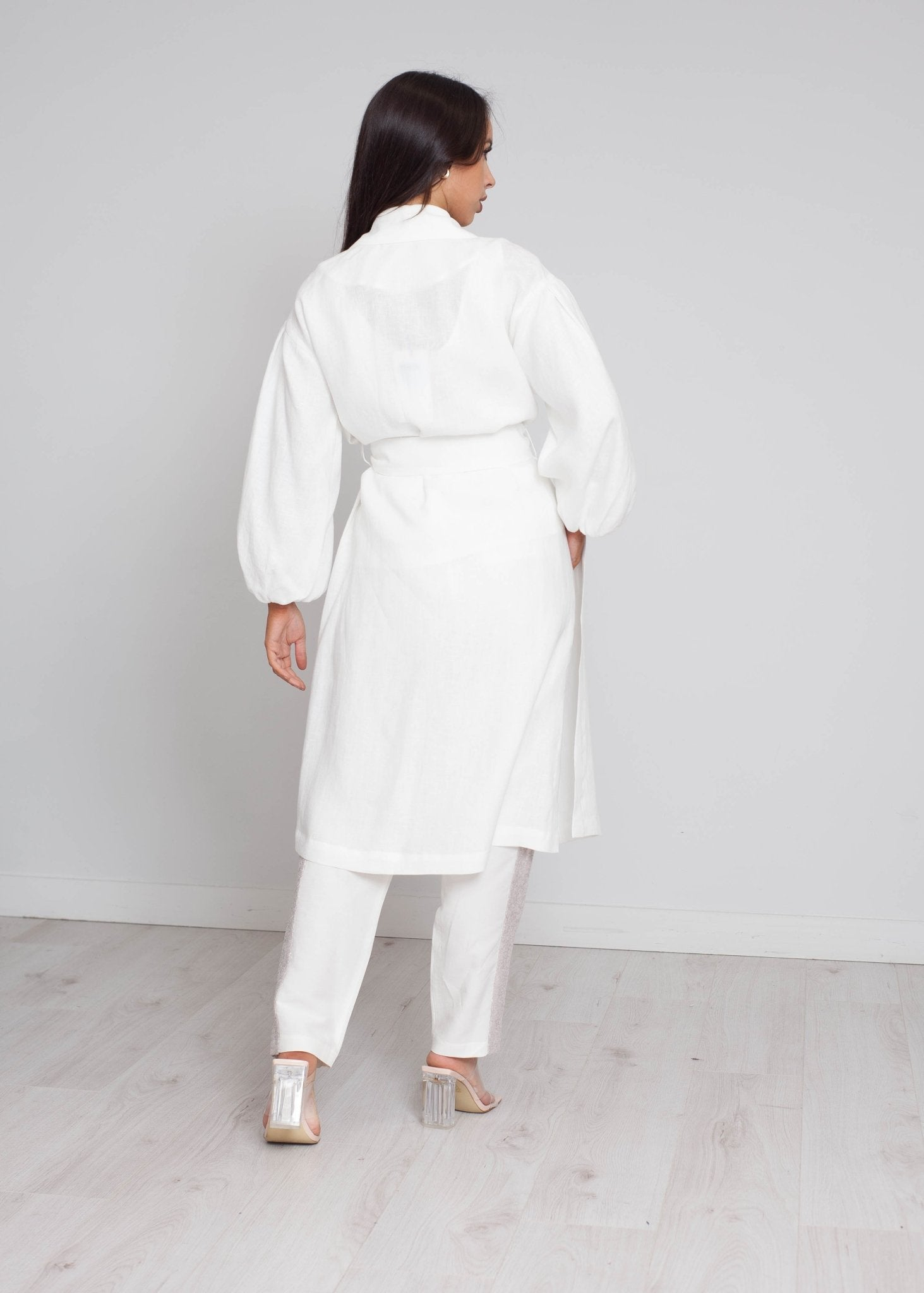 Alana Puff Sleeve Coat In White - The Walk in Wardrobe