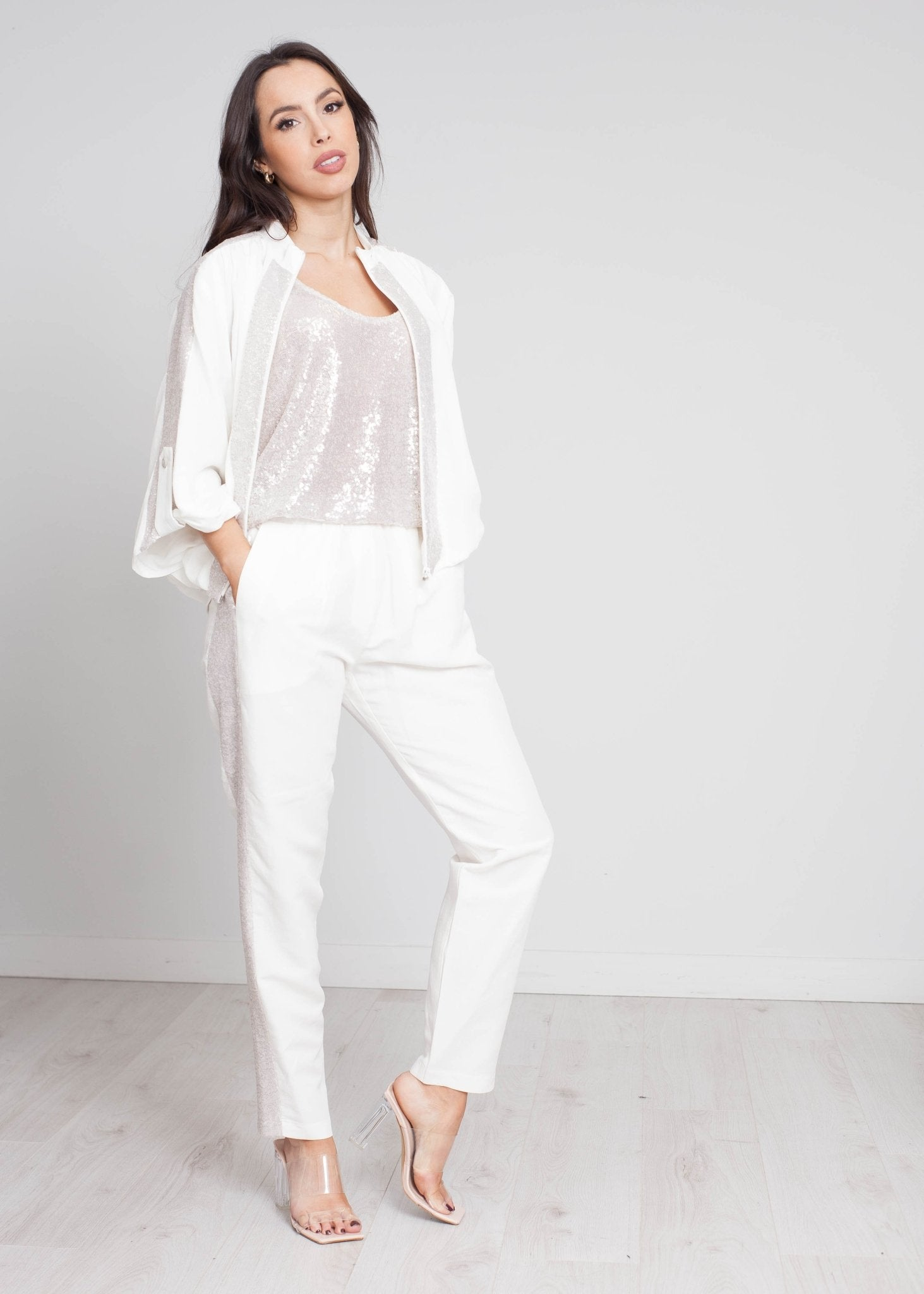 Alana Sequin Bomber Jacket In Ivory - The Walk in Wardrobe