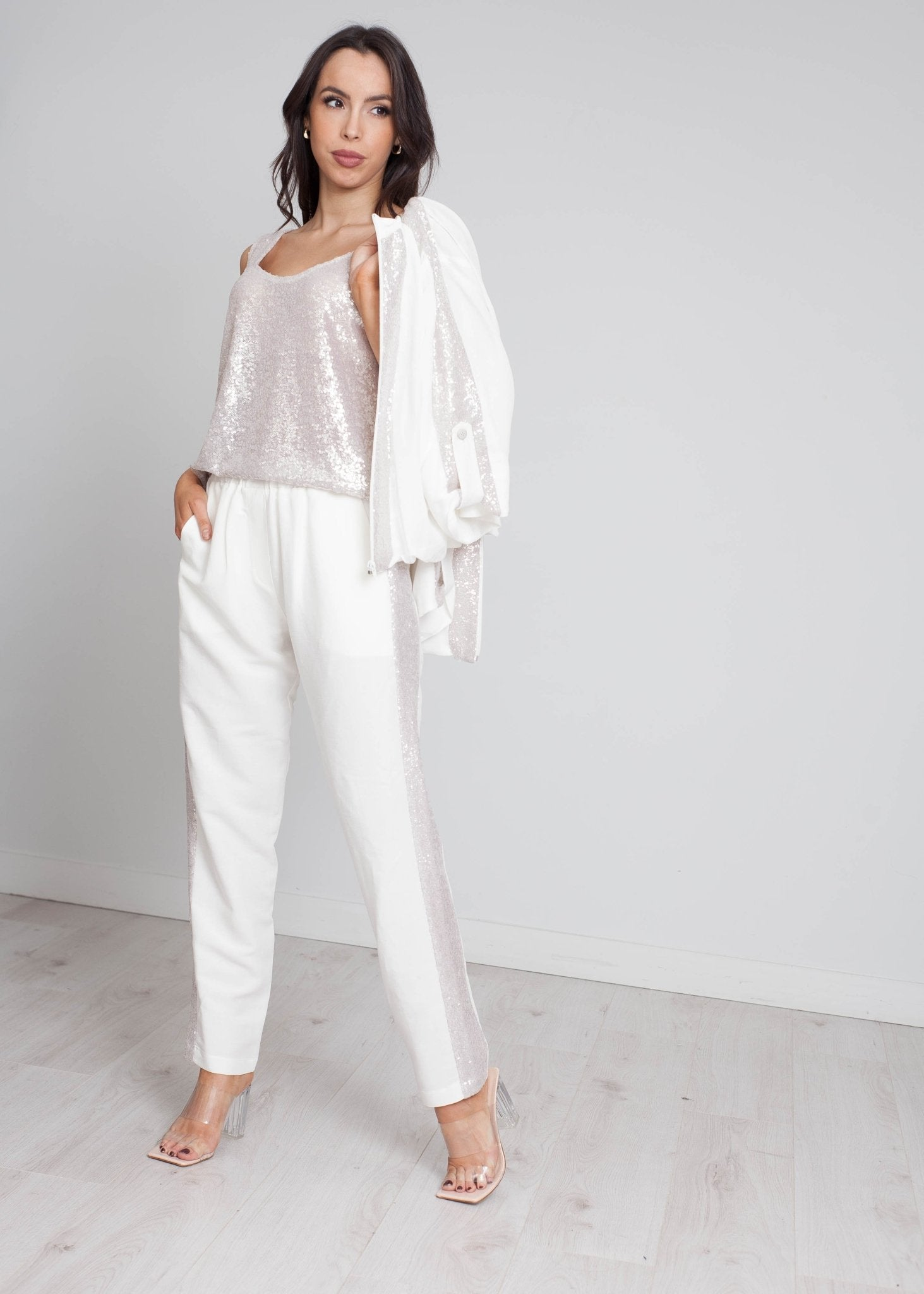 Alana Sequin Front Top In Ivory - The Walk in Wardrobe