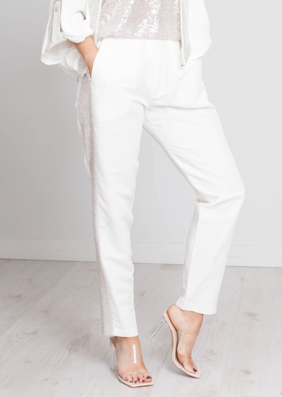 Alana Sequin Stripe Trouser In Ivory - The Walk in Wardrobe