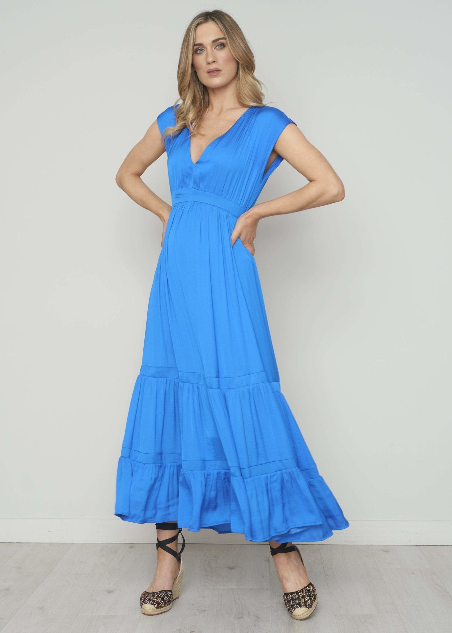 Alana Tiered Maxi Dress In Cobalt - The Walk in Wardrobe