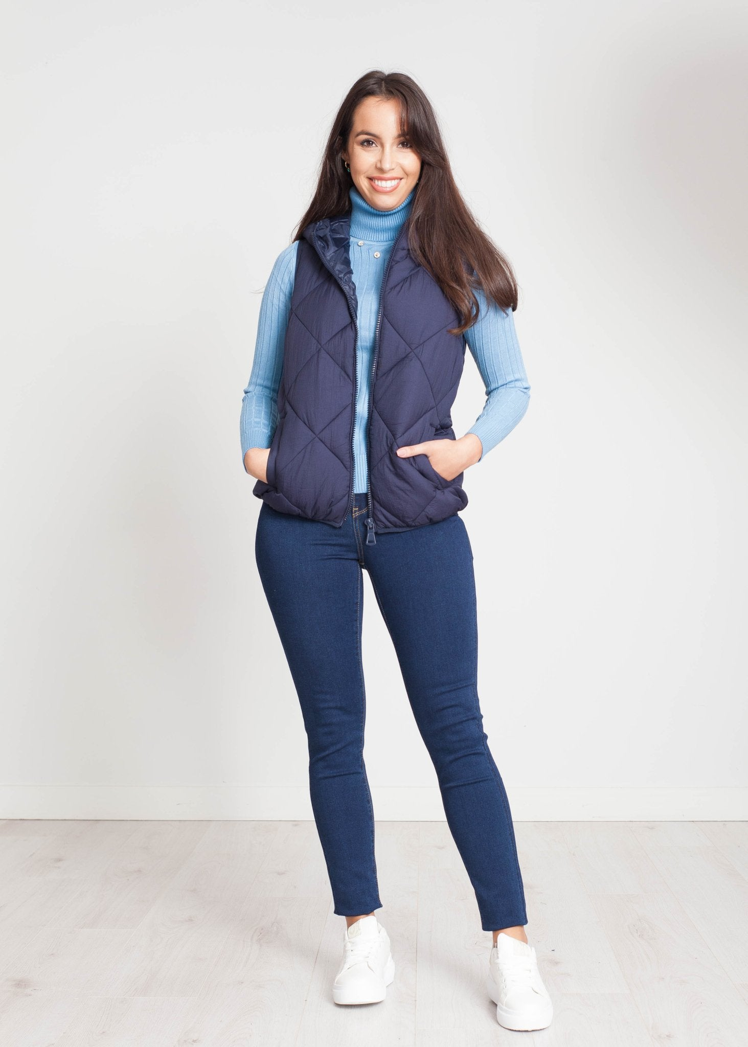 Alba Hooded Gilet In Navy - The Walk in Wardrobe