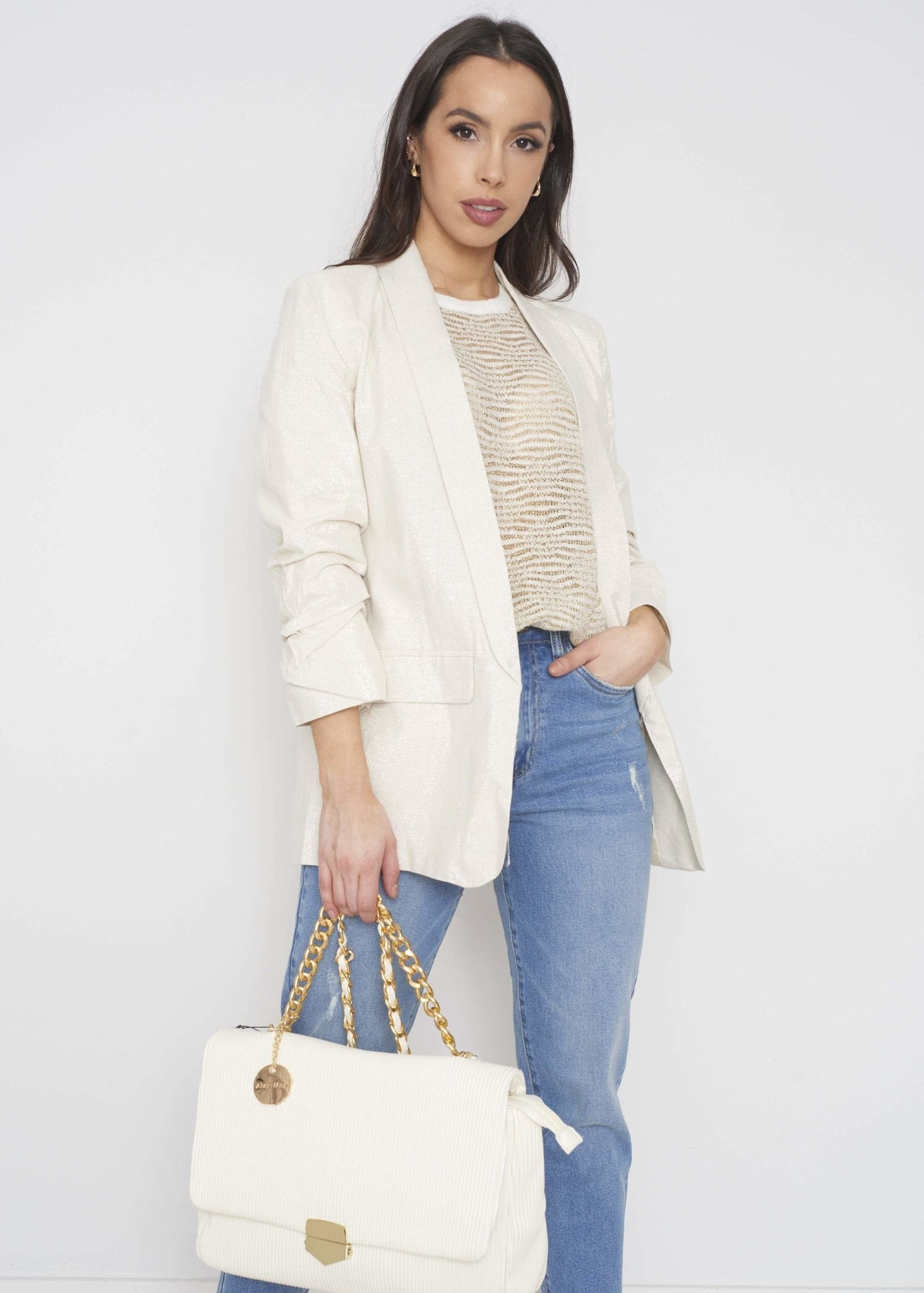 Alba Linen Mix Blazer In Cream - The Walk in Wardrobe