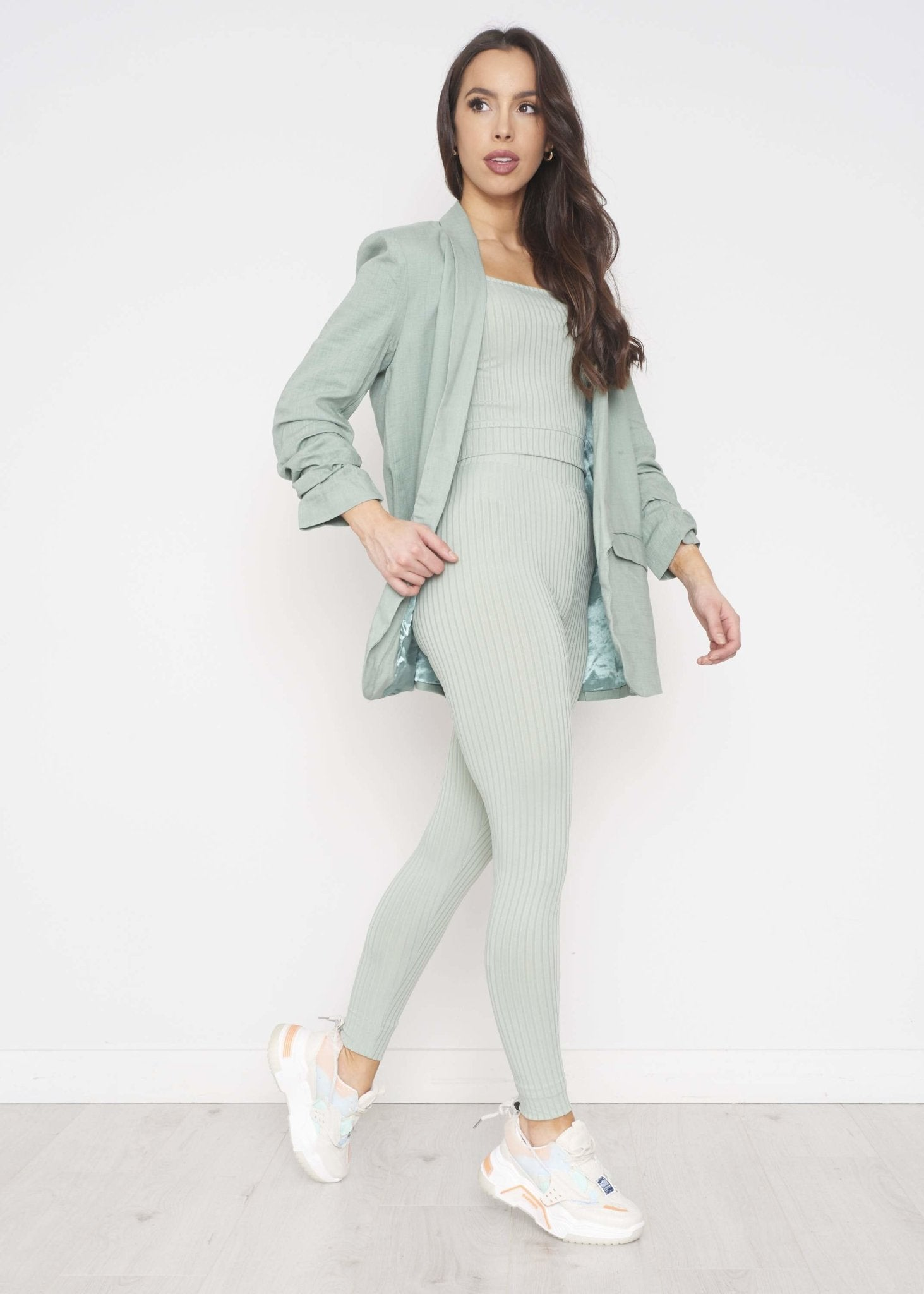 Alba Linen Mix Blazer In Sage - The Walk in Wardrobe
