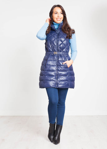 Alba Mid Length Gilet In Navy - The Walk in Wardrobe