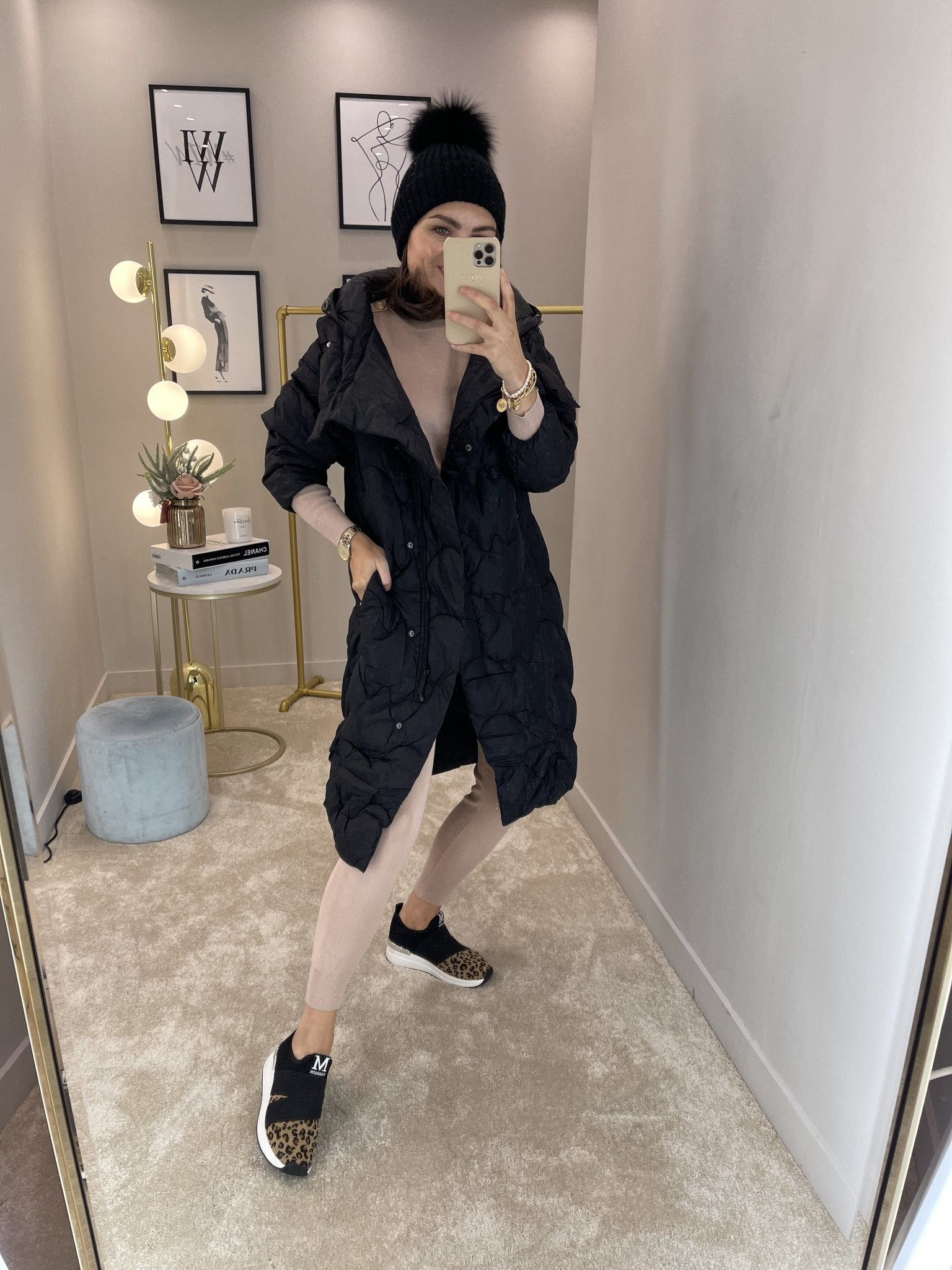 Alba Oversized Quilted Coat In Black - The Walk in Wardrobe