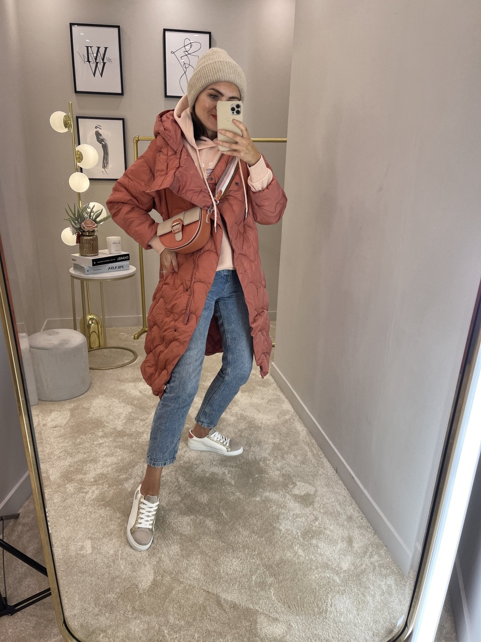 Alba Oversized Quilted Coat In Coral - The Walk in Wardrobe