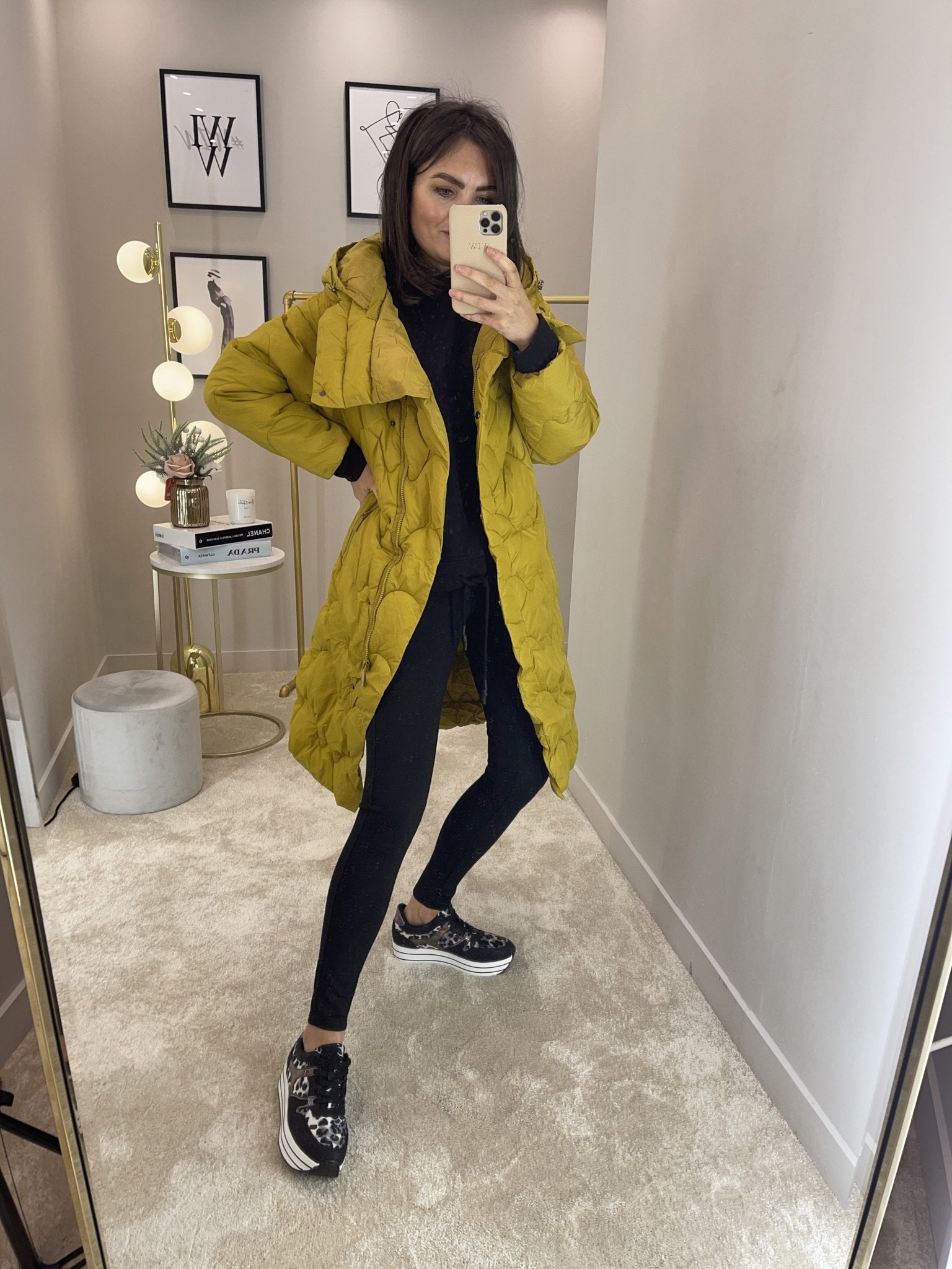 Alba Oversized Quilted Coat In Mustard - The Walk in Wardrobe