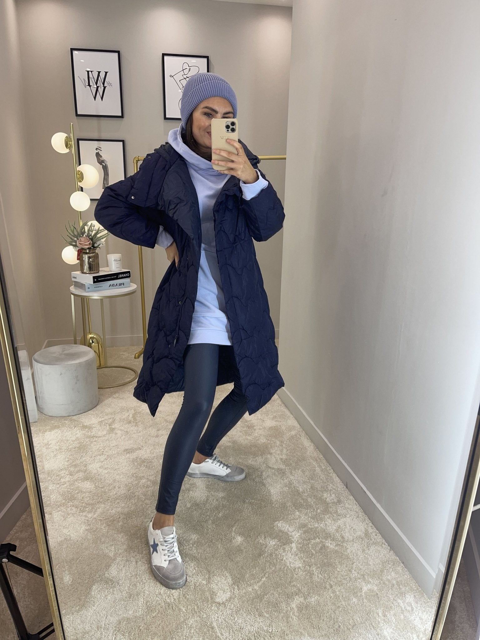 Alba Oversized Quilted Coat In Navy - The Walk in Wardrobe