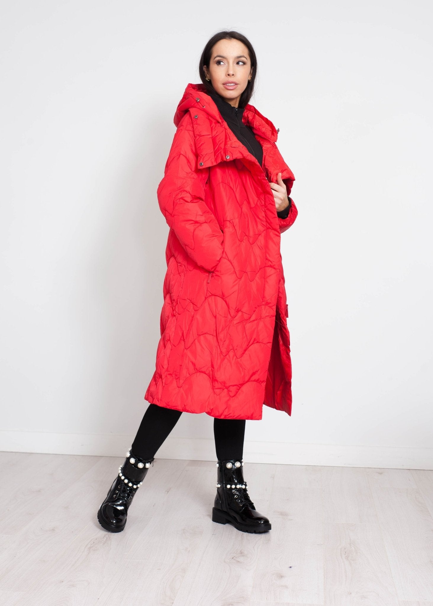 Alba Oversized Quilted Coat In Red - The Walk in Wardrobe