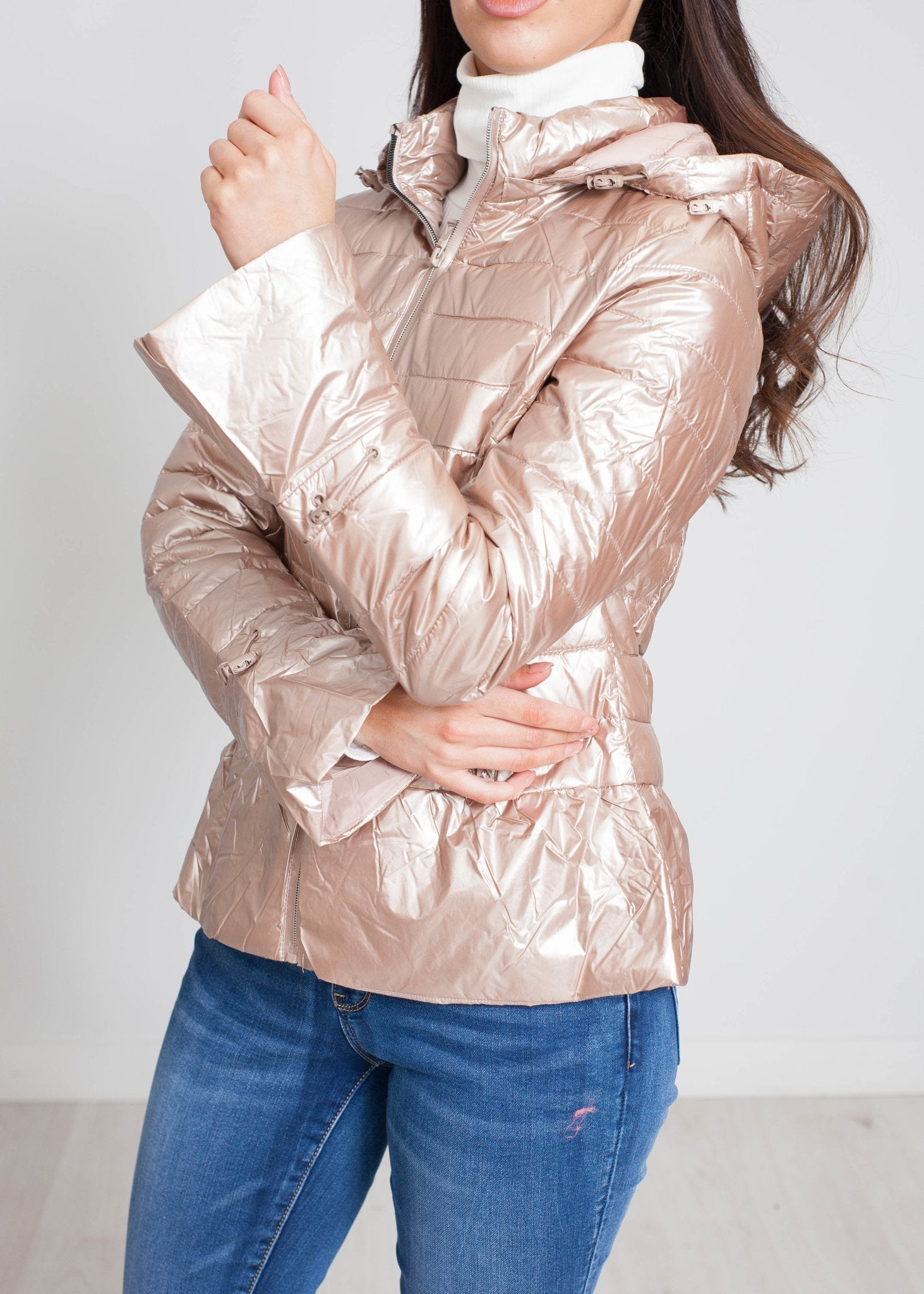 Alba Quilted Coat In Champagne - The Walk in Wardrobe
