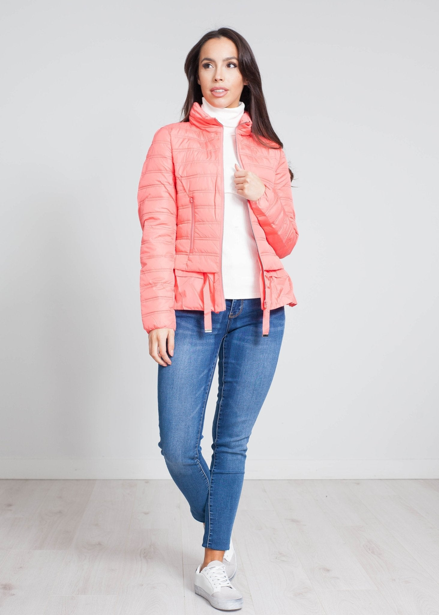 Alba Quilted Coat With Frill In Coral - The Walk in Wardrobe