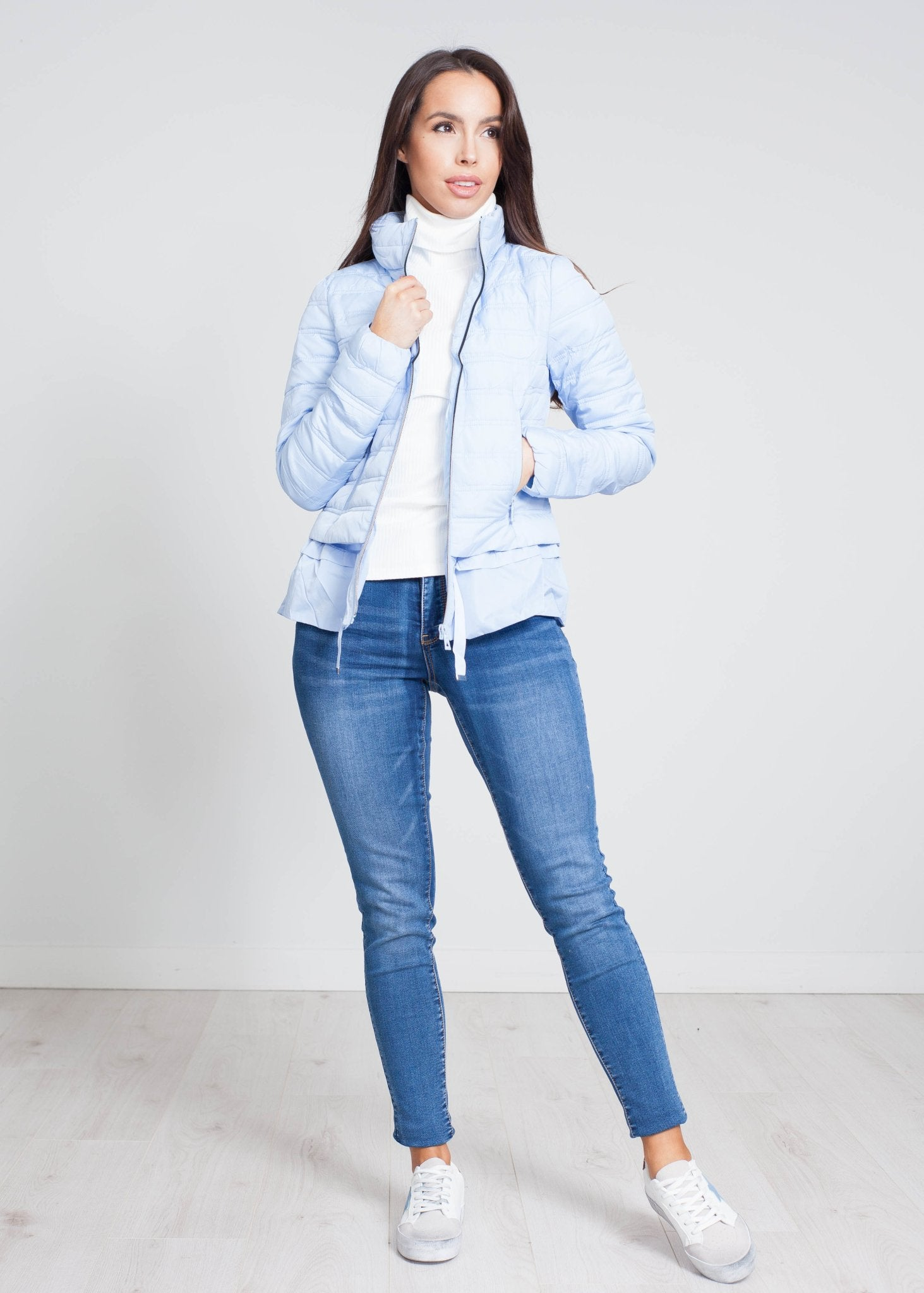 Alba Quilted Coat With Frill In Powder Blue - The Walk in Wardrobe