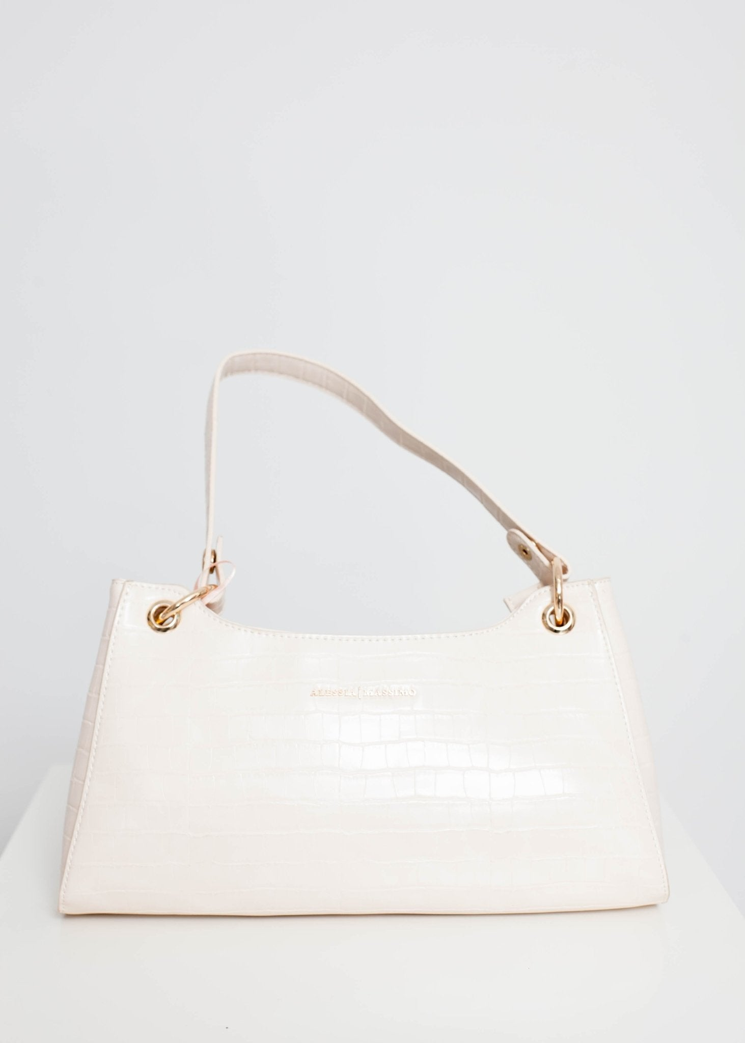 Alex Faux Croc Bag In Cream - The Walk in Wardrobe
