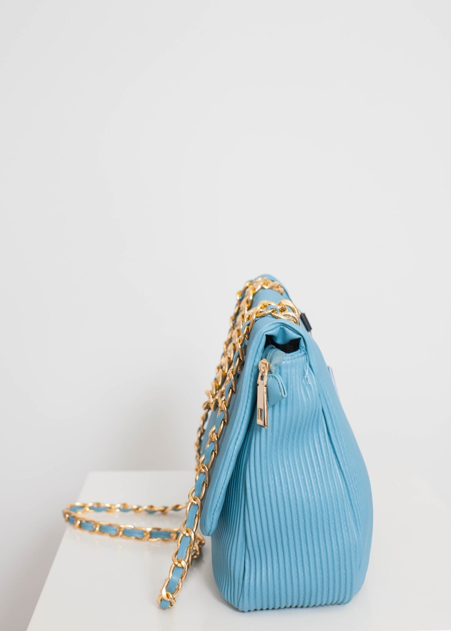 Alex Ribbed Bag In Blue - The Walk in Wardrobe