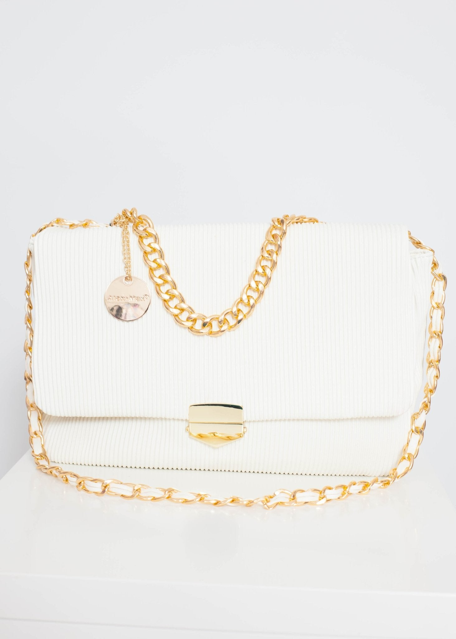 Alex Ribbed Bag In Cream - The Walk in Wardrobe