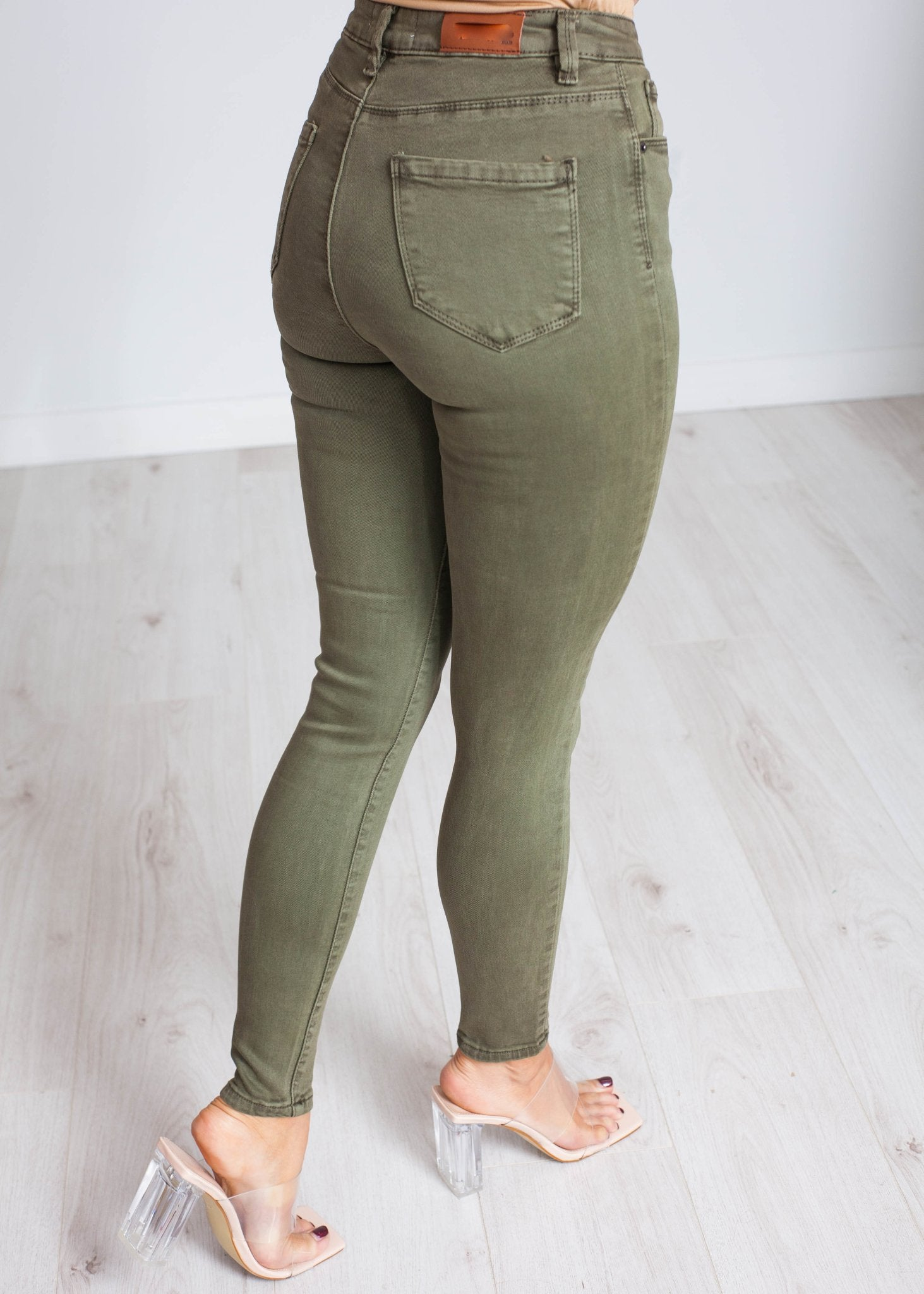 Alexa High Waist Skinny Jean In Khaki - The Walk in Wardrobe