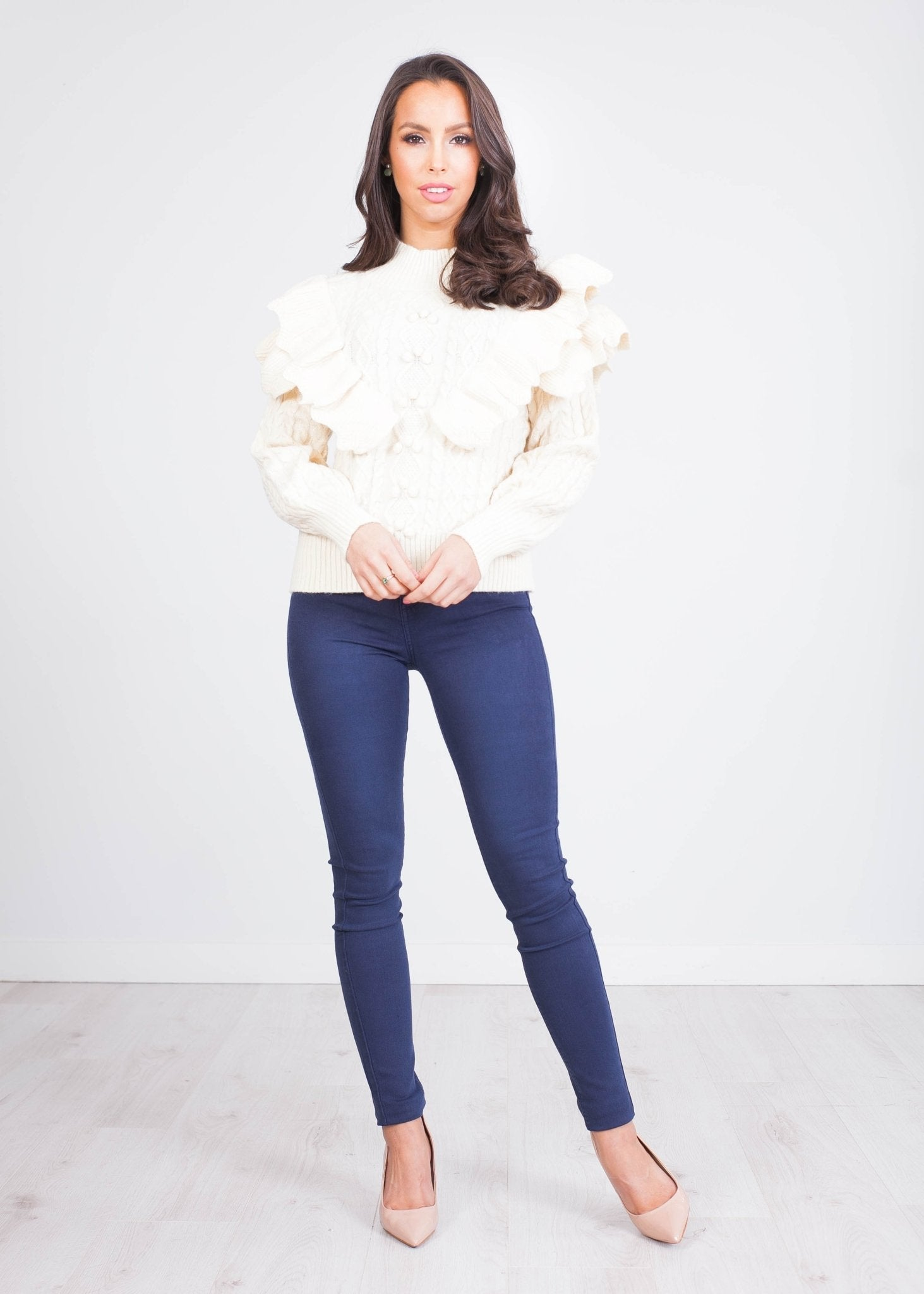 Alice Beige Frill Jumper - The Walk in Wardrobe