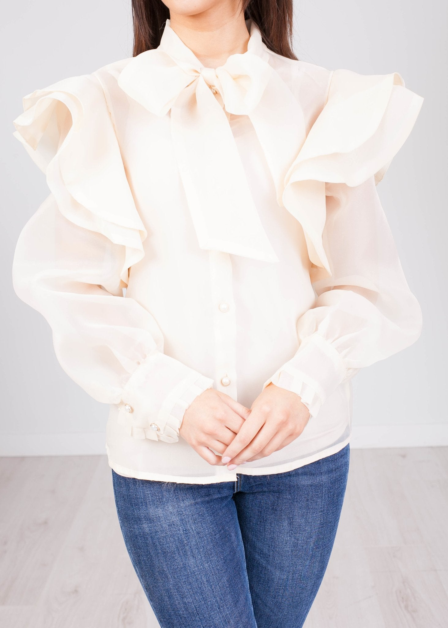 Alice Beige Sheer Blouse - The Walk in Wardrobe