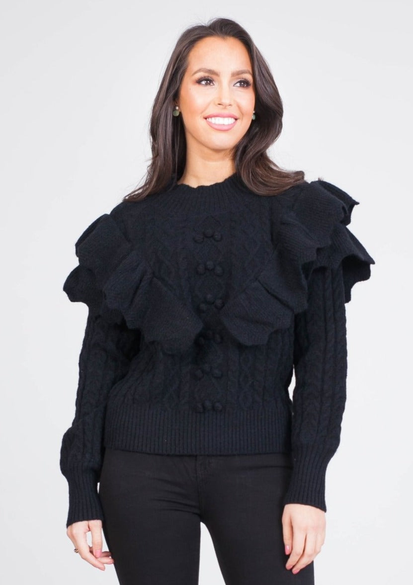 Alice Black Frill Jumper - The Walk in Wardrobe