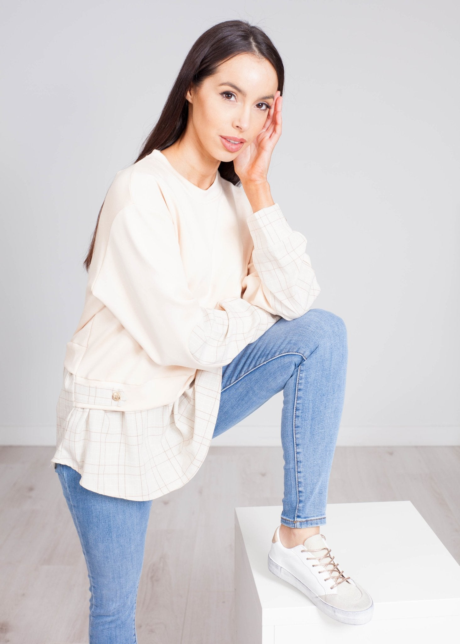 Alice Frill Hem Jumper In Beige Check - The Walk in Wardrobe