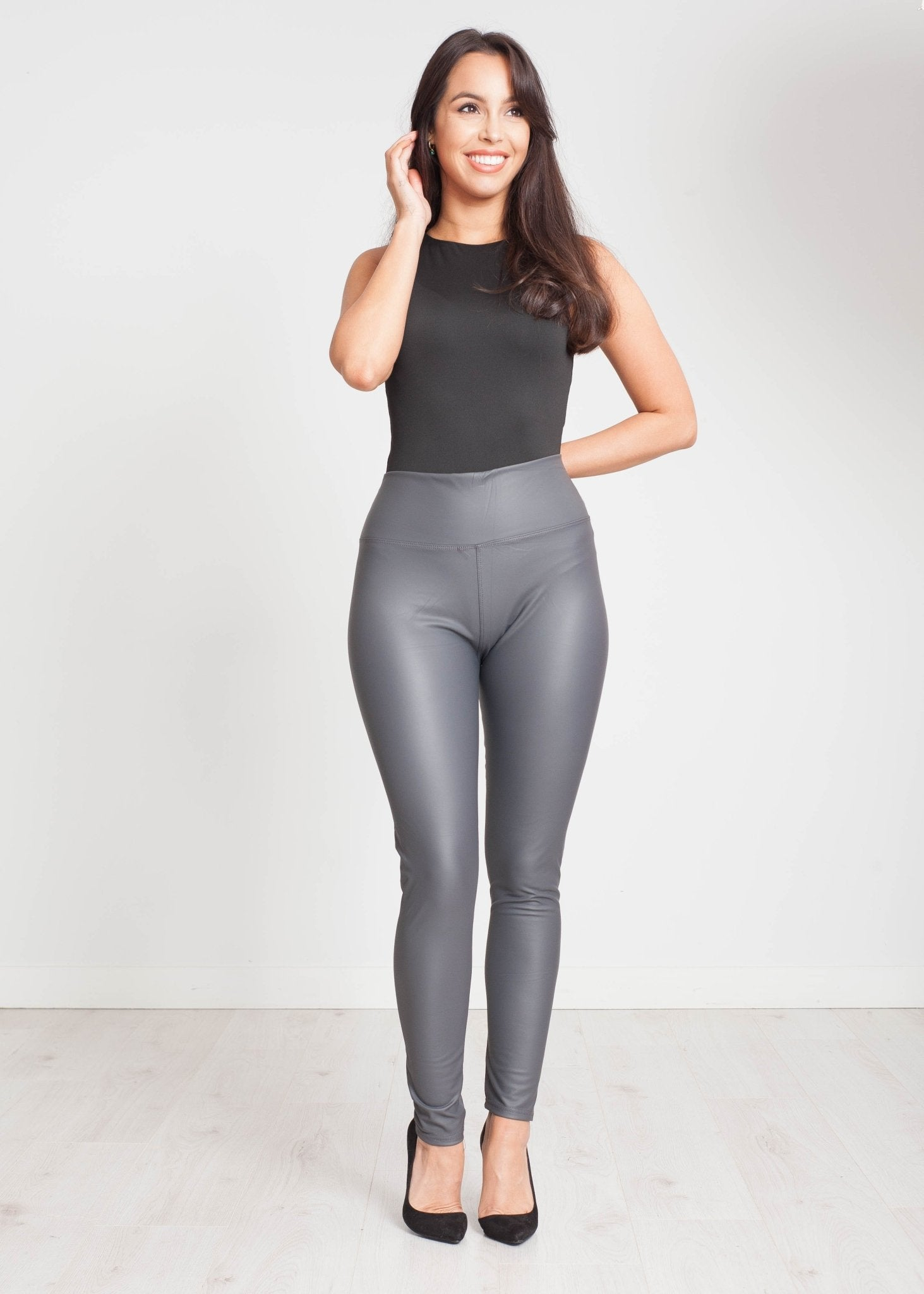 Alice Leather Look Legging In Grey - The Walk in Wardrobe