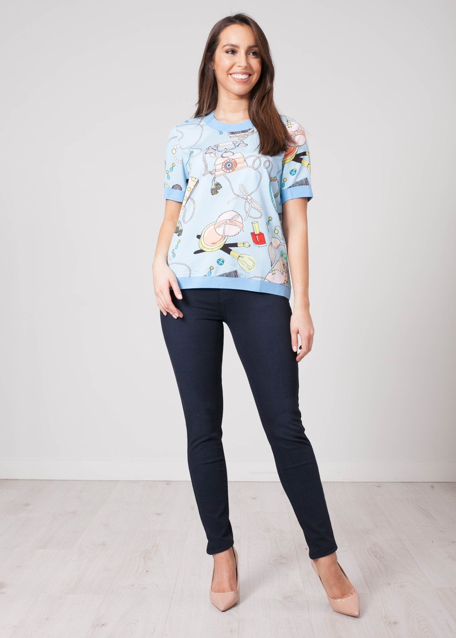Aliyah Blue Printed Top - The Walk in Wardrobe