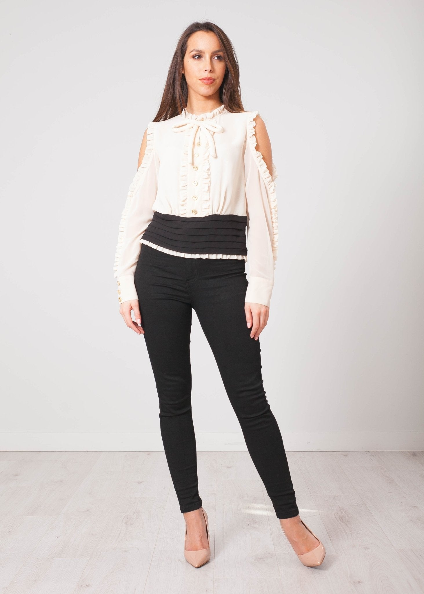 Aliyah Cream Open Sleeve Top - The Walk in Wardrobe