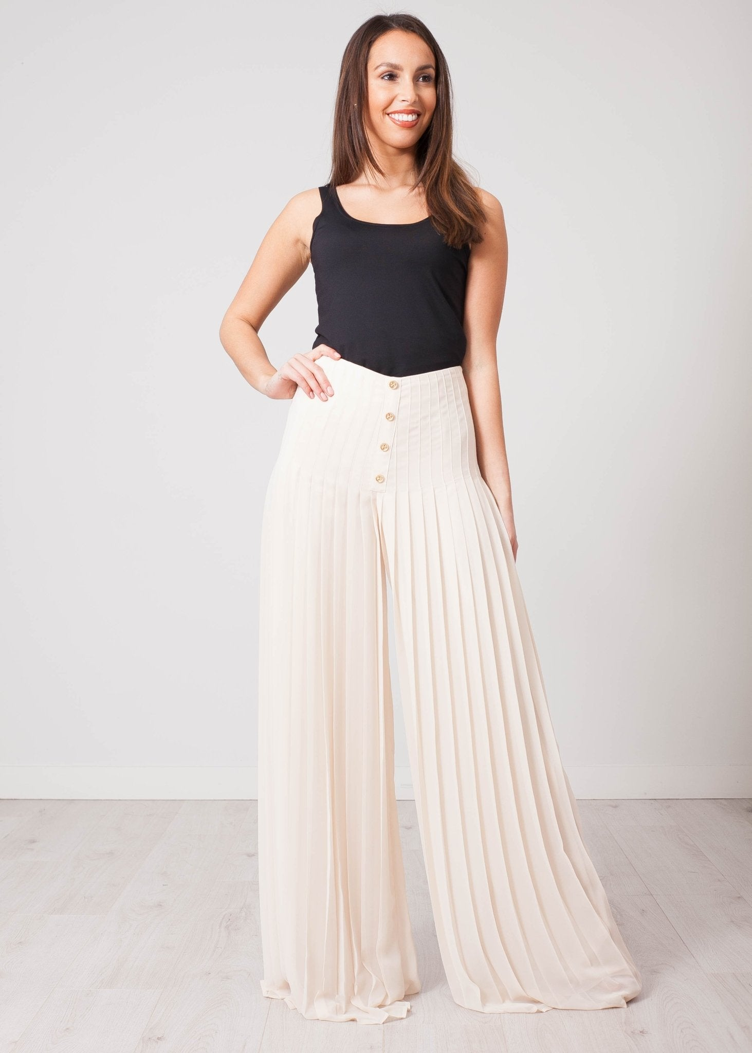 Aliyah Cream Pleated Trousers - The Walk in Wardrobe