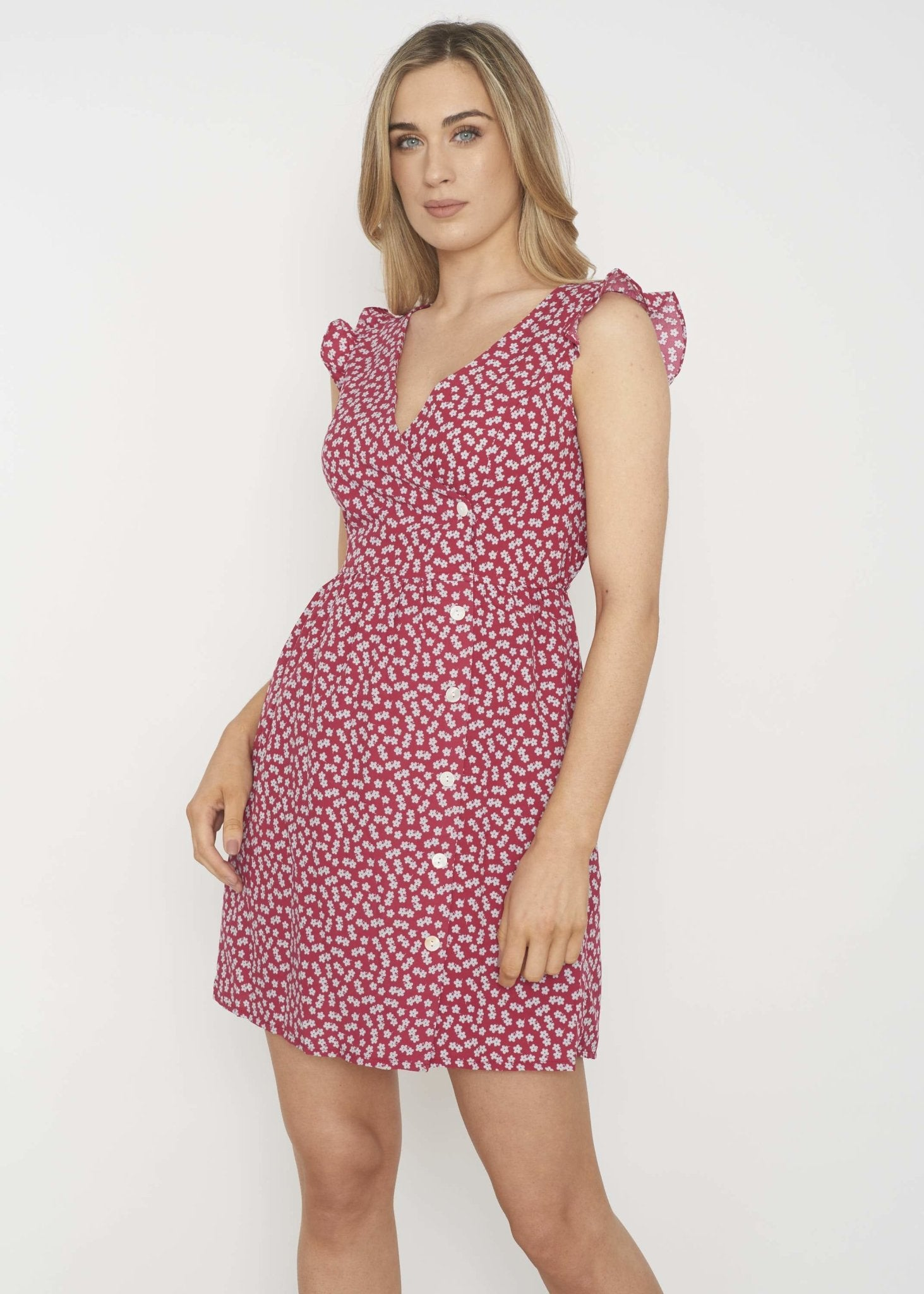 Ally Button Front Floral Dress In Claret - The Walk in Wardrobe