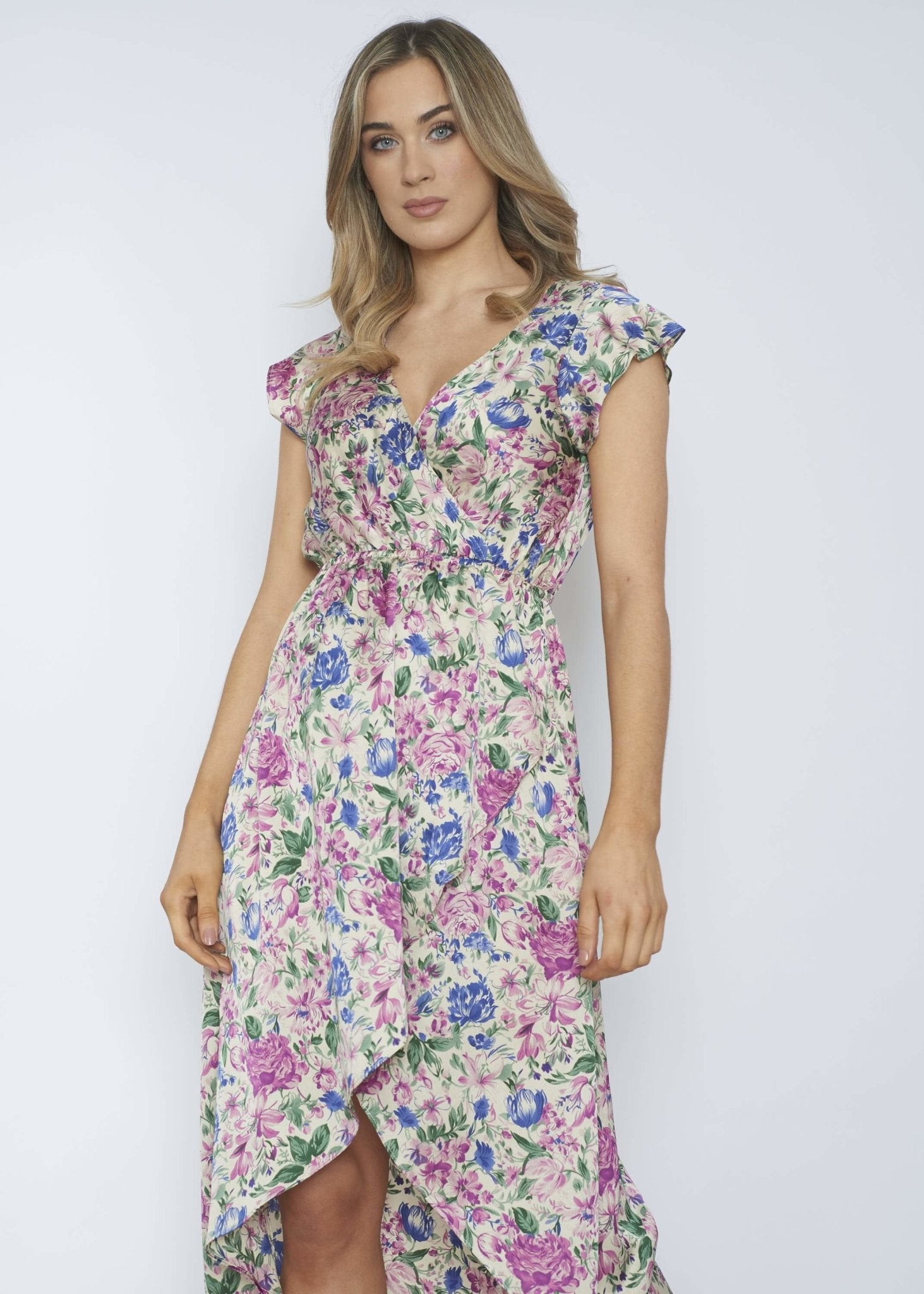 Ally Floral Wrap Dress In Cream - The Walk in Wardrobe