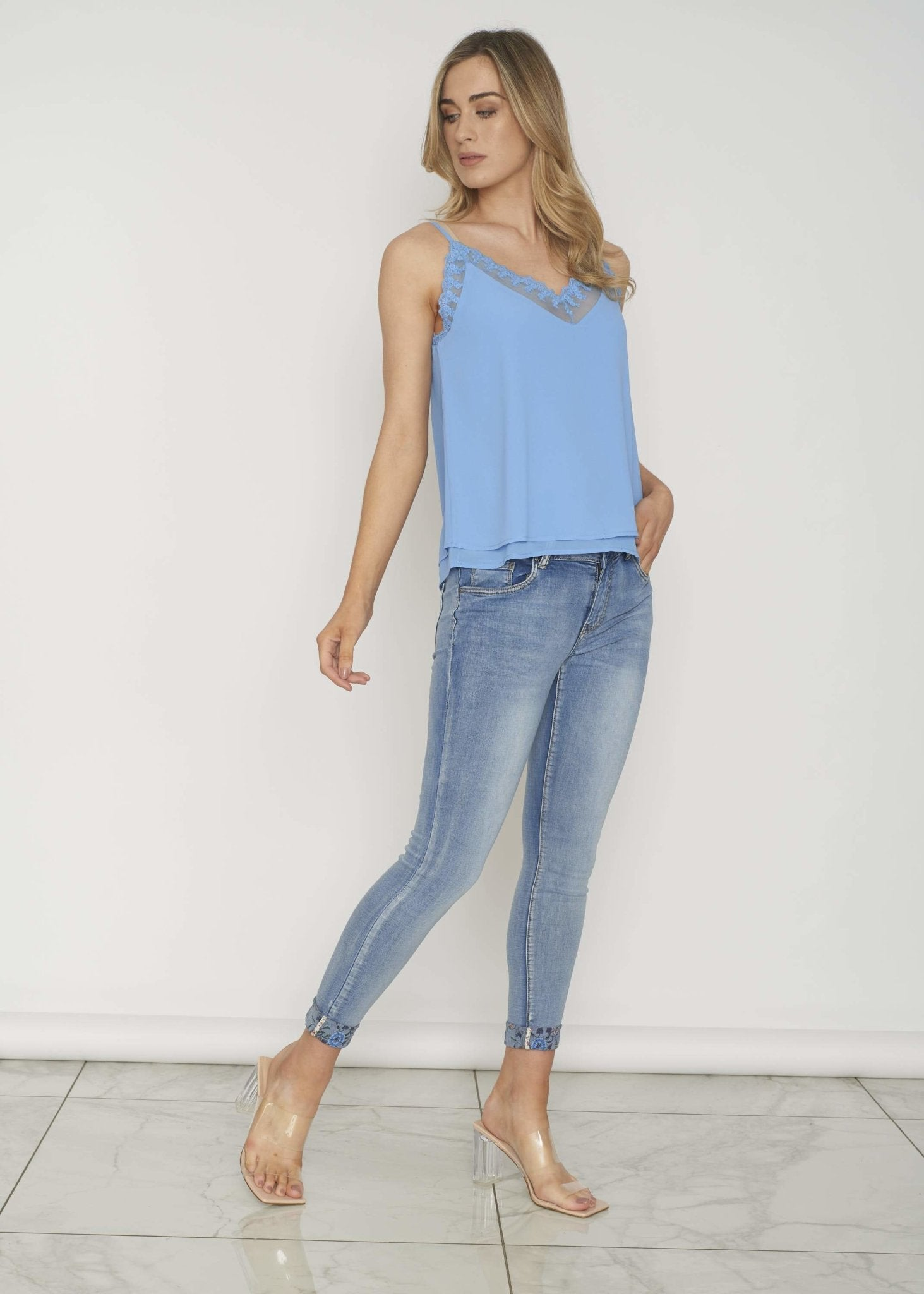Ally Lace Trim Cami In Blue - The Walk in Wardrobe