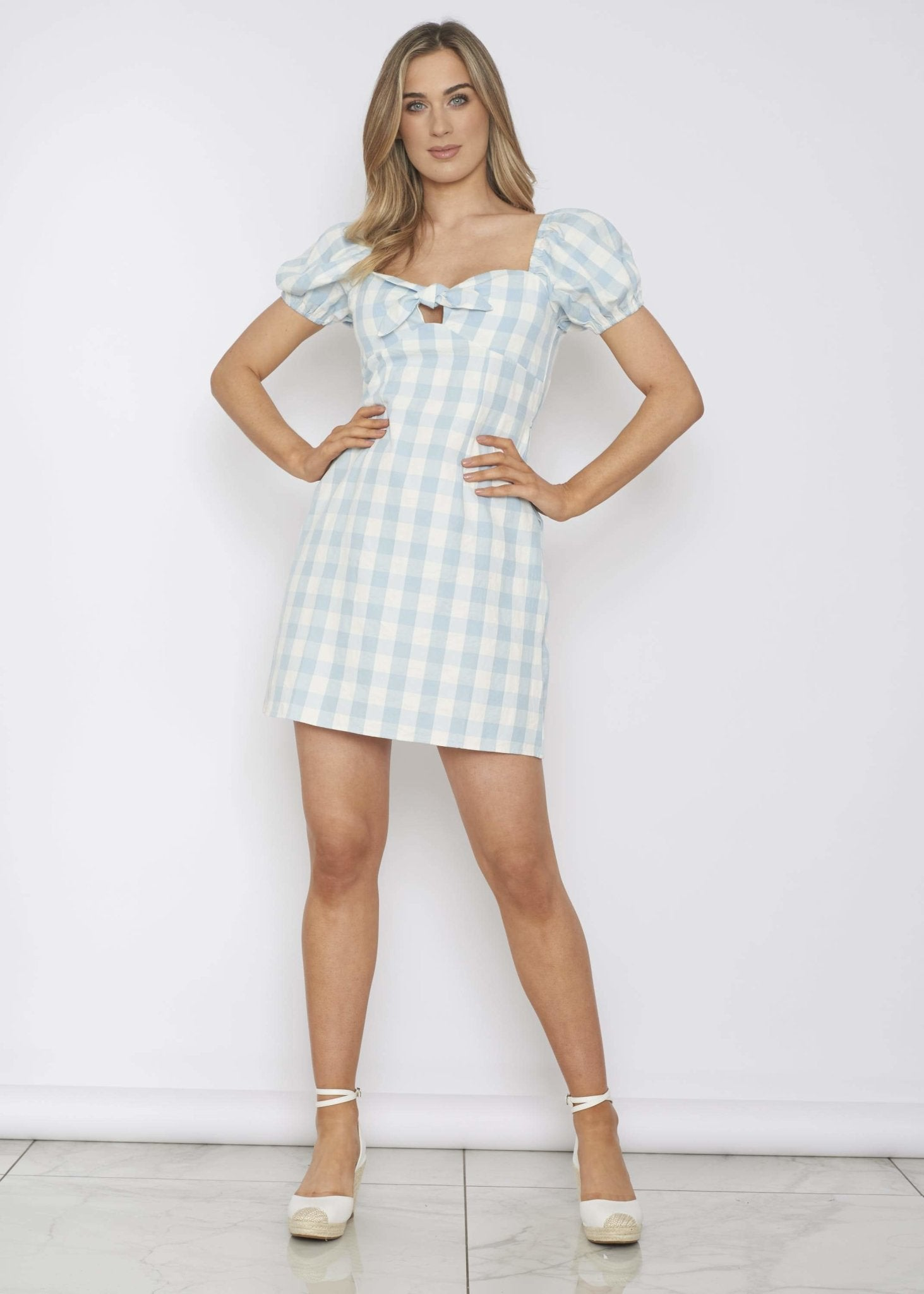Ally Tie Front Dress In Blue Gingham - The Walk in Wardrobe