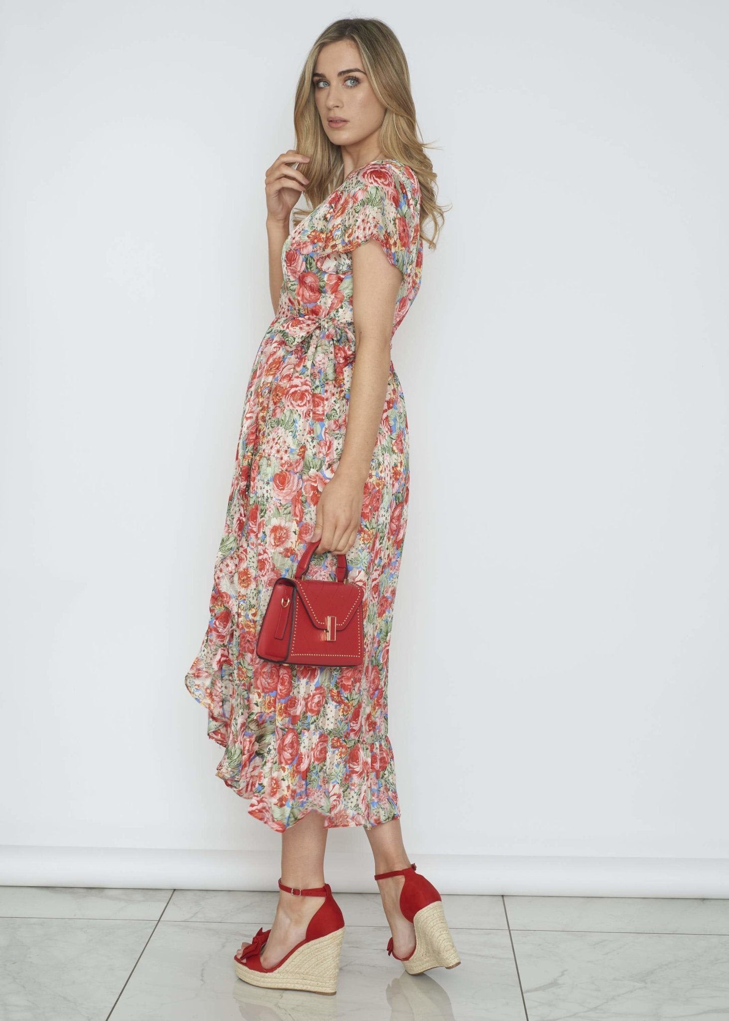Ally Wrap Dress In Red Floral - The Walk in Wardrobe