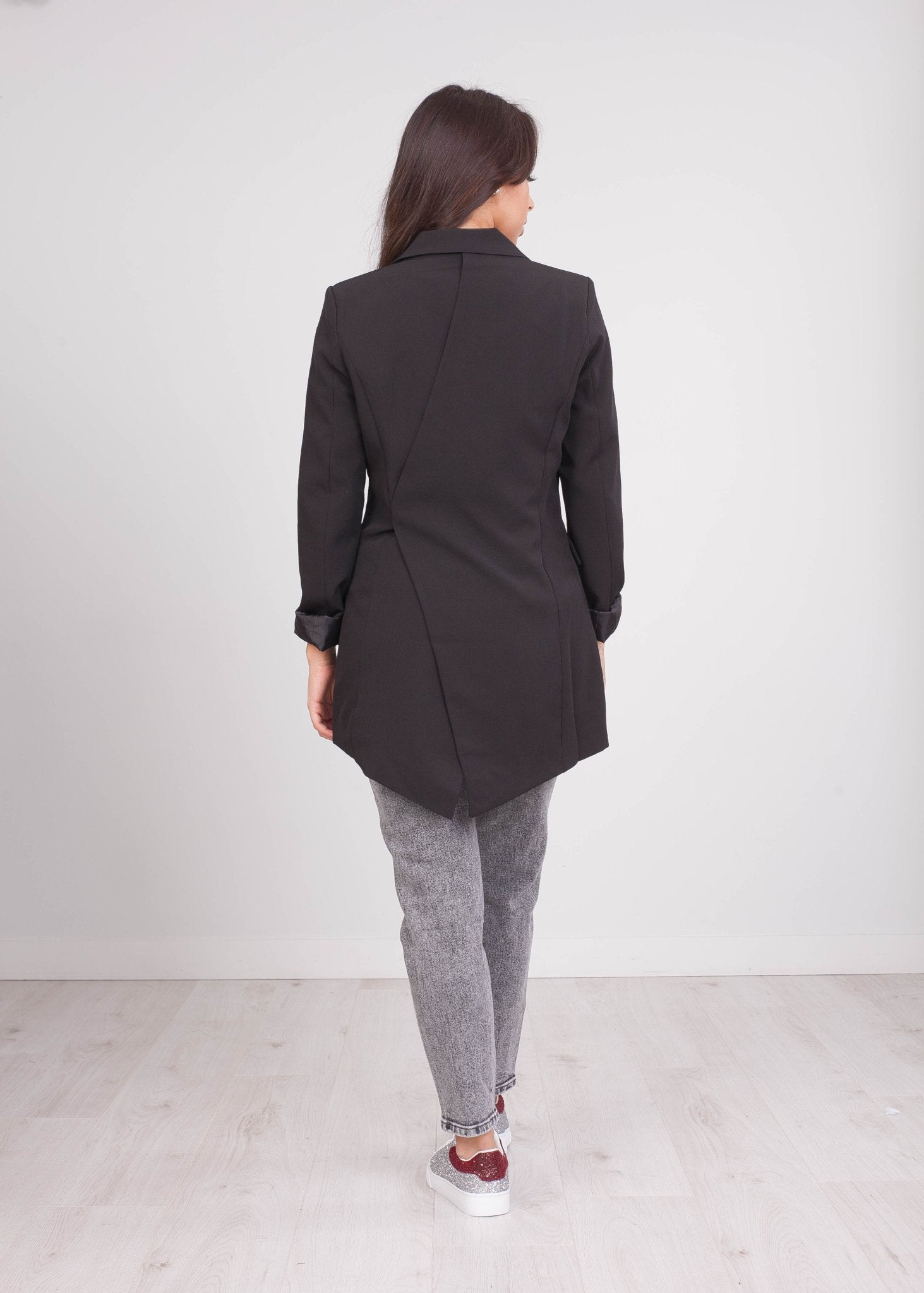 Arabella Black Asymmetric Blazer - The Walk in Wardrobe