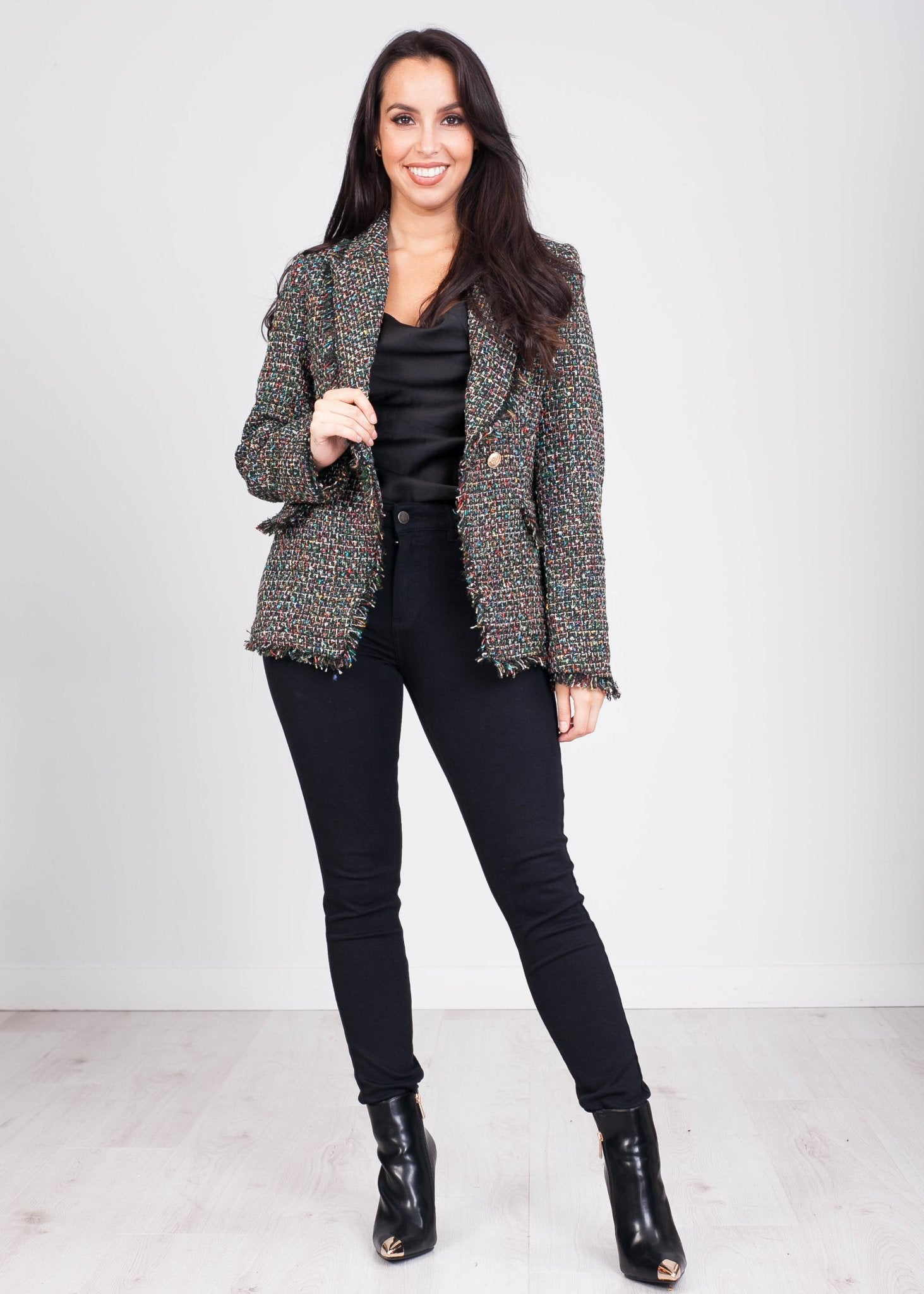 Arabella Black Frayed Edge Multi Tweed Blazer - The Walk in Wardrobe