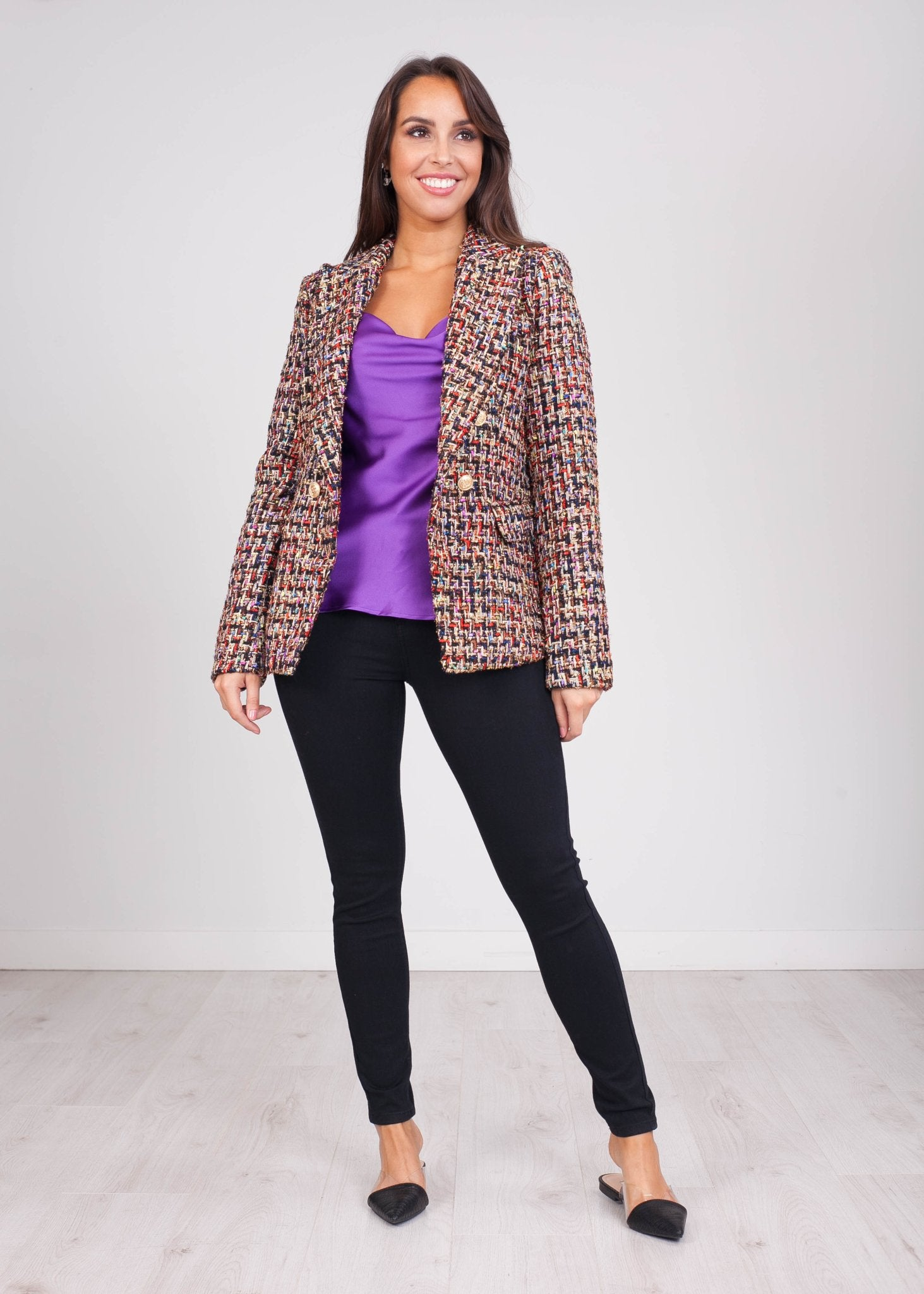Arabella Black Multi Tweed Blazer - The Walk in Wardrobe