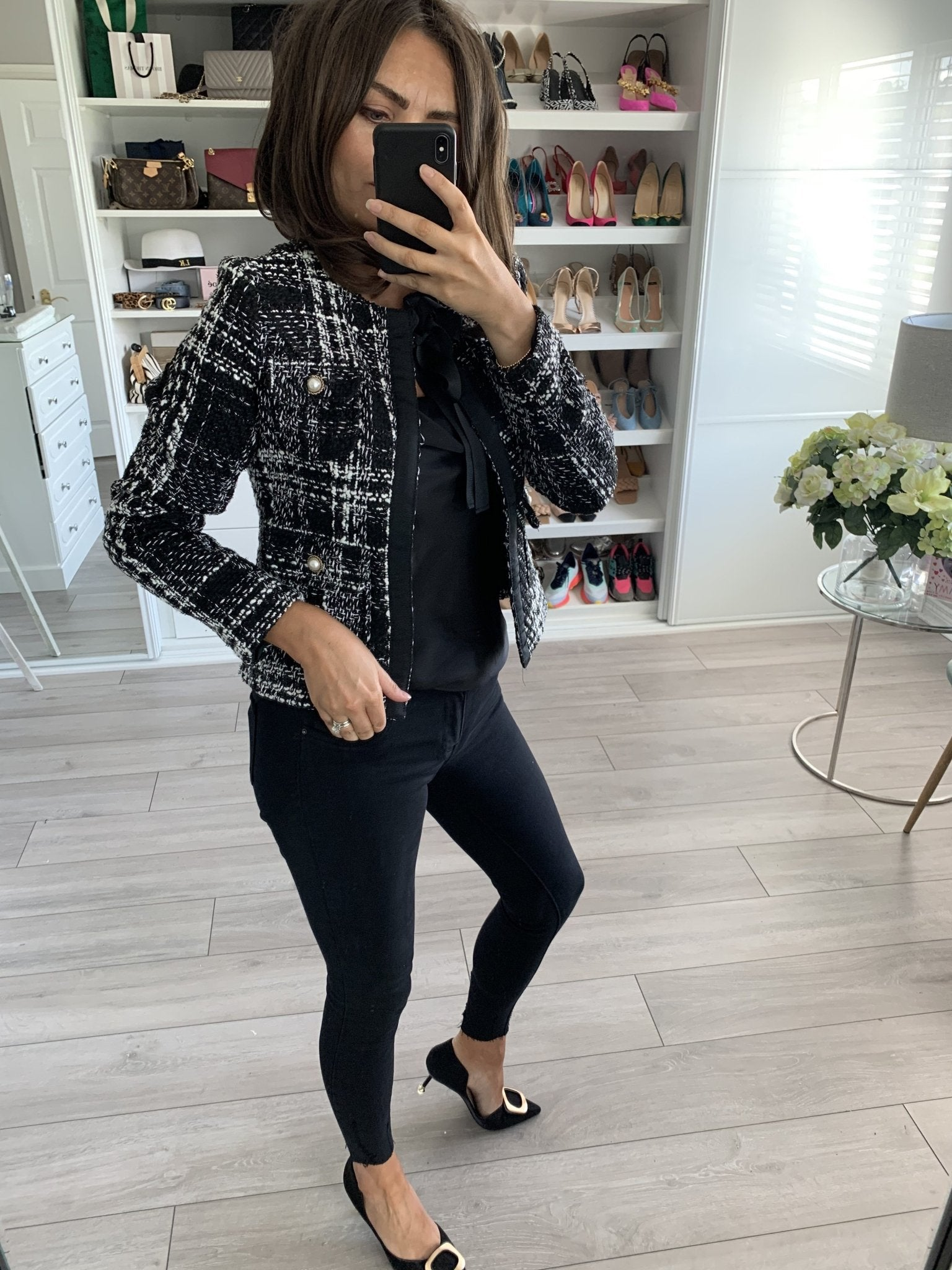 Arabella Black Tweed Jacket - The Walk in Wardrobe